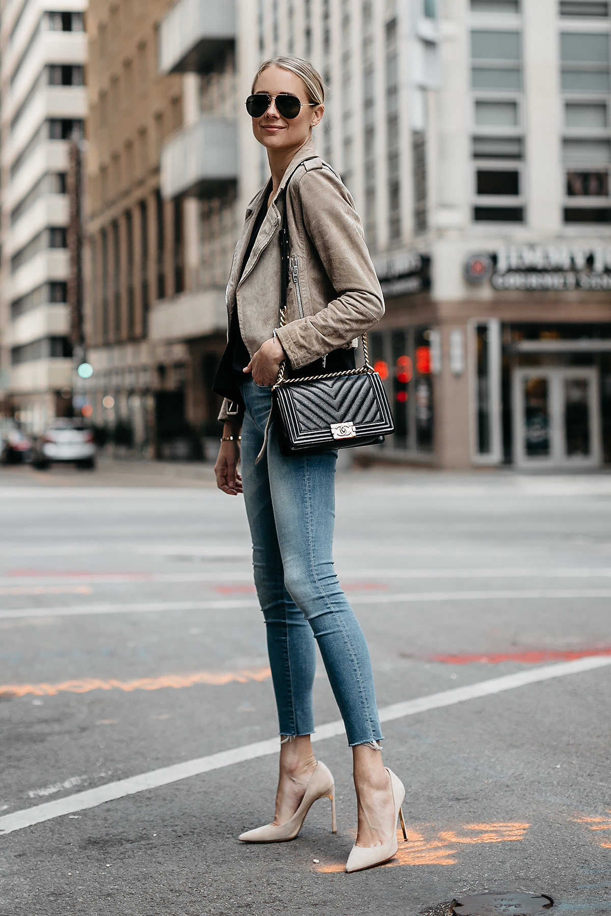 Blonde Woman Wearing Blanknyc Tan Suede Moto Jacket Black Tshirt Mother Denim Skinny Jeans Nude Heels Chanel Black Boy Bag Aviator Sunglasses Fashion Jackson Dallas Blogger Fashion Blogger Street Style