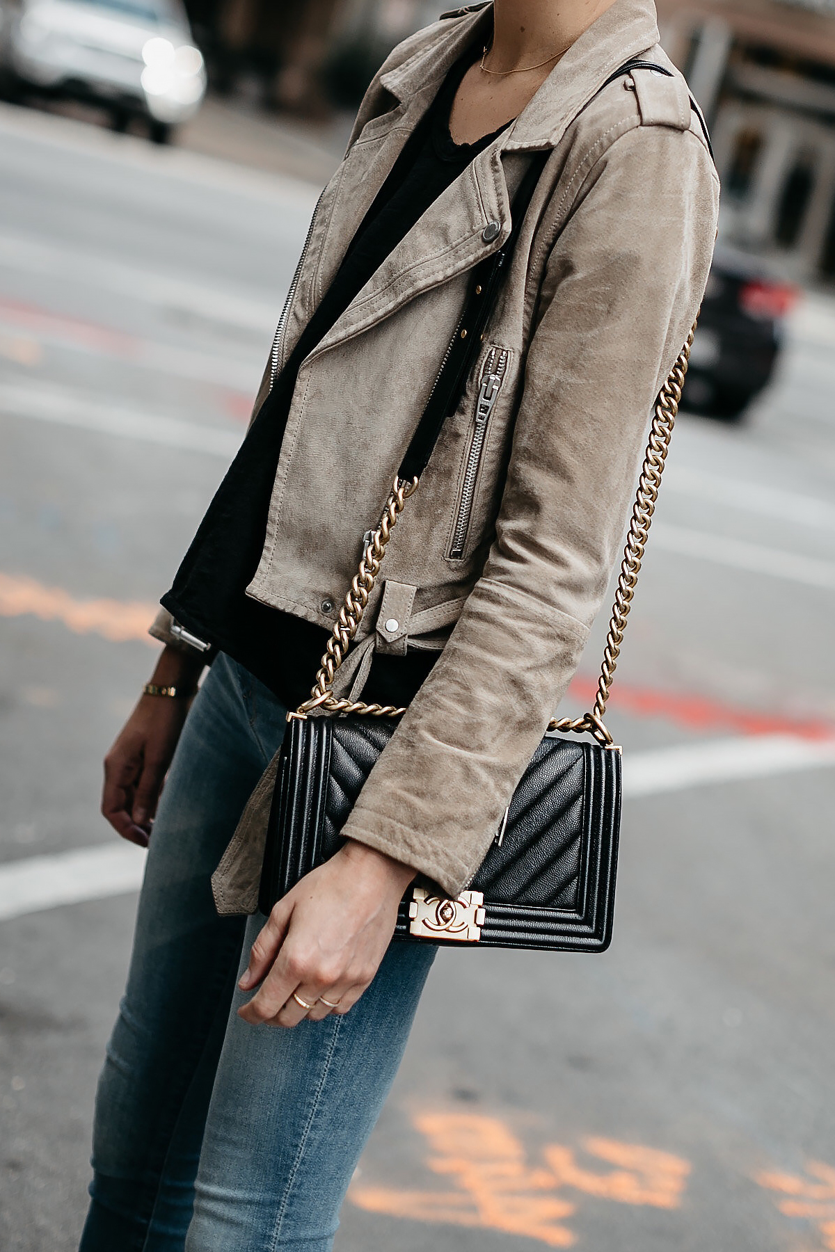 Woman Wearing Blanknyc Tan Suede Moto Jacket Denim Skinny Jeans Chanel Black Boy Bag Fashion Jackson Dallas Blogger Fashion Blogger Street Style
