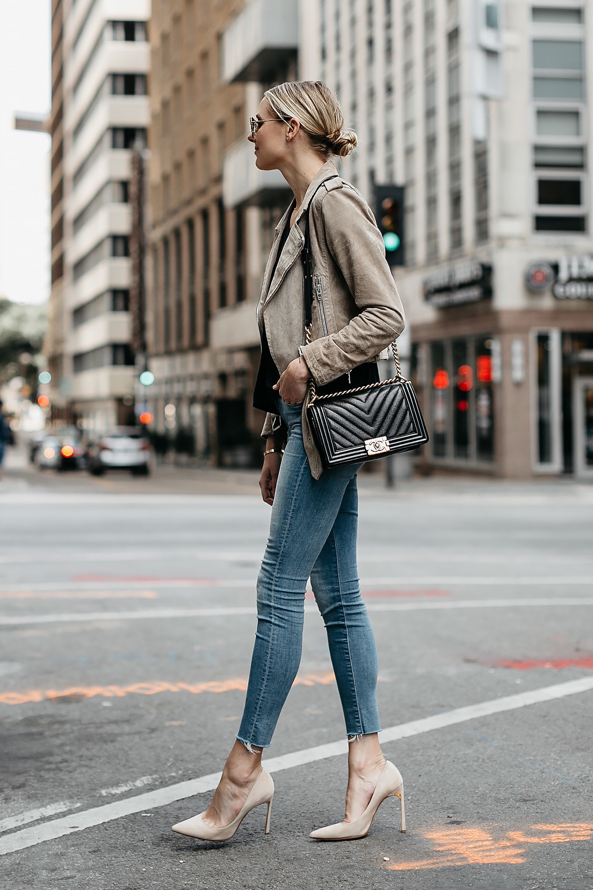 Blonde Woman Wearing Blanknyc Tan Suede Moto Jacket Denim Skinny Jeans Nude Heels Chanel Black Boy Bag Fashion Jackson Dallas Blogger Fashion Blogger Street Style