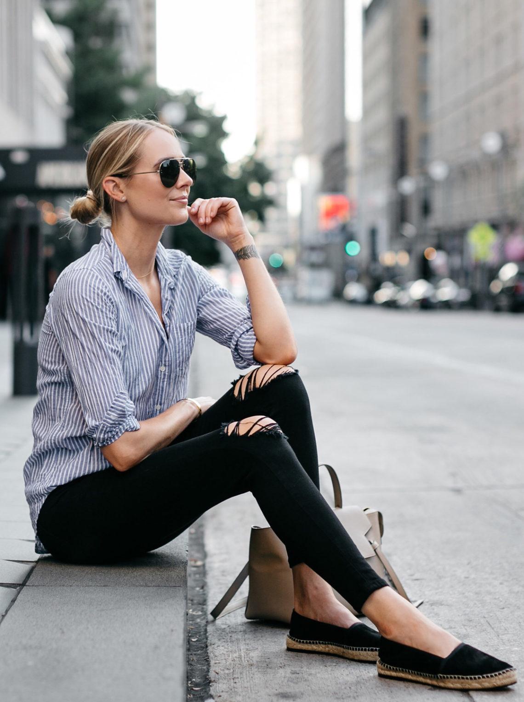 Blonde Woman Wearing Stuart Weitzman Black Espadrilles Blue White Stripe Shirt Black Ripped Skinny Jeans Celine Aviator Sunglasses Fashion Jackson Dallas Blogger Fashion Blogger Street Style