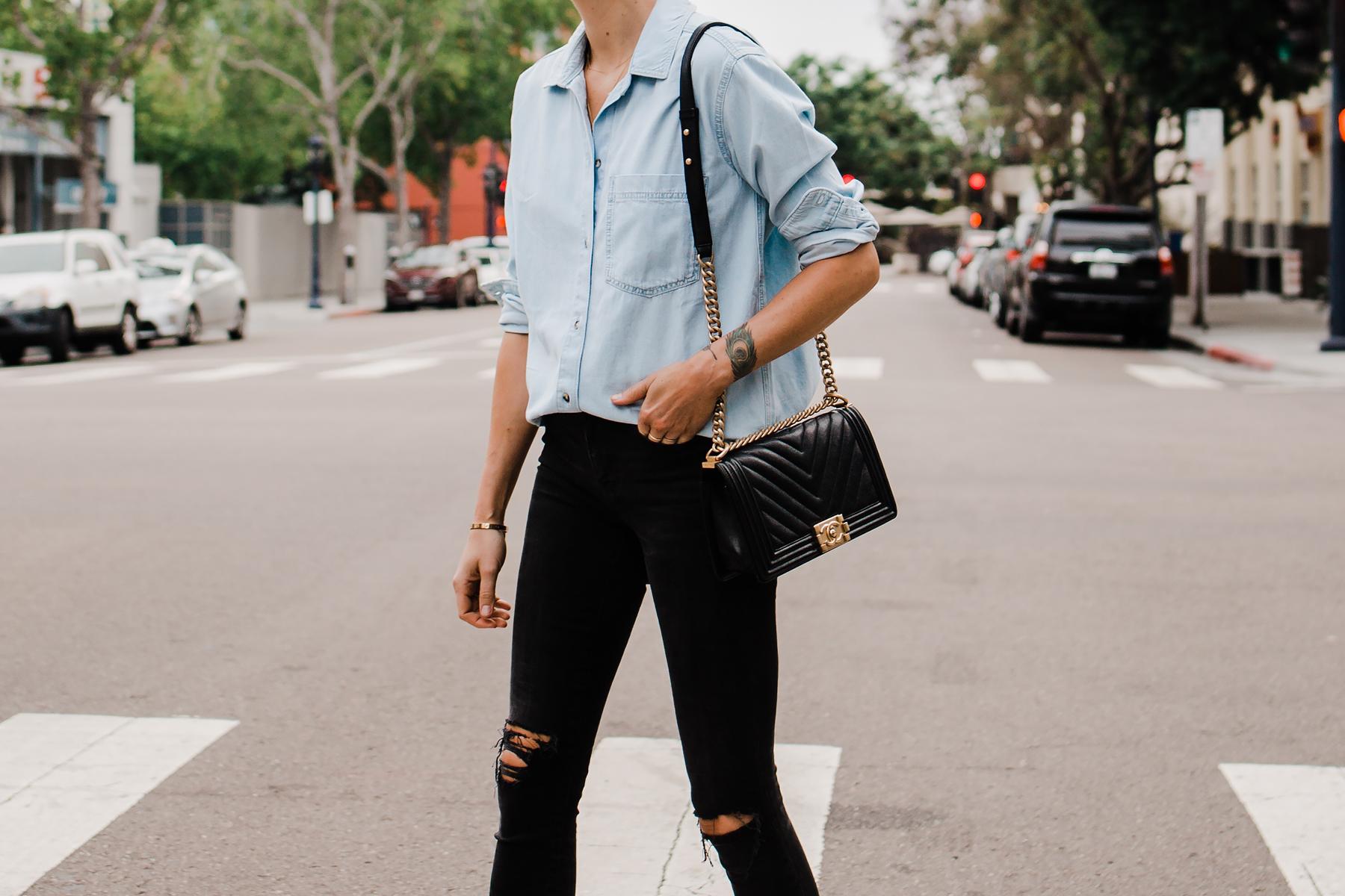Woman Wearing Topshop Oversized Denim Shirt Topshop Black Ripped Skinny Jeans Chanel Black Boy Handbag Fashion Jackson San Diego Blogger Fashion Blogger Street Style