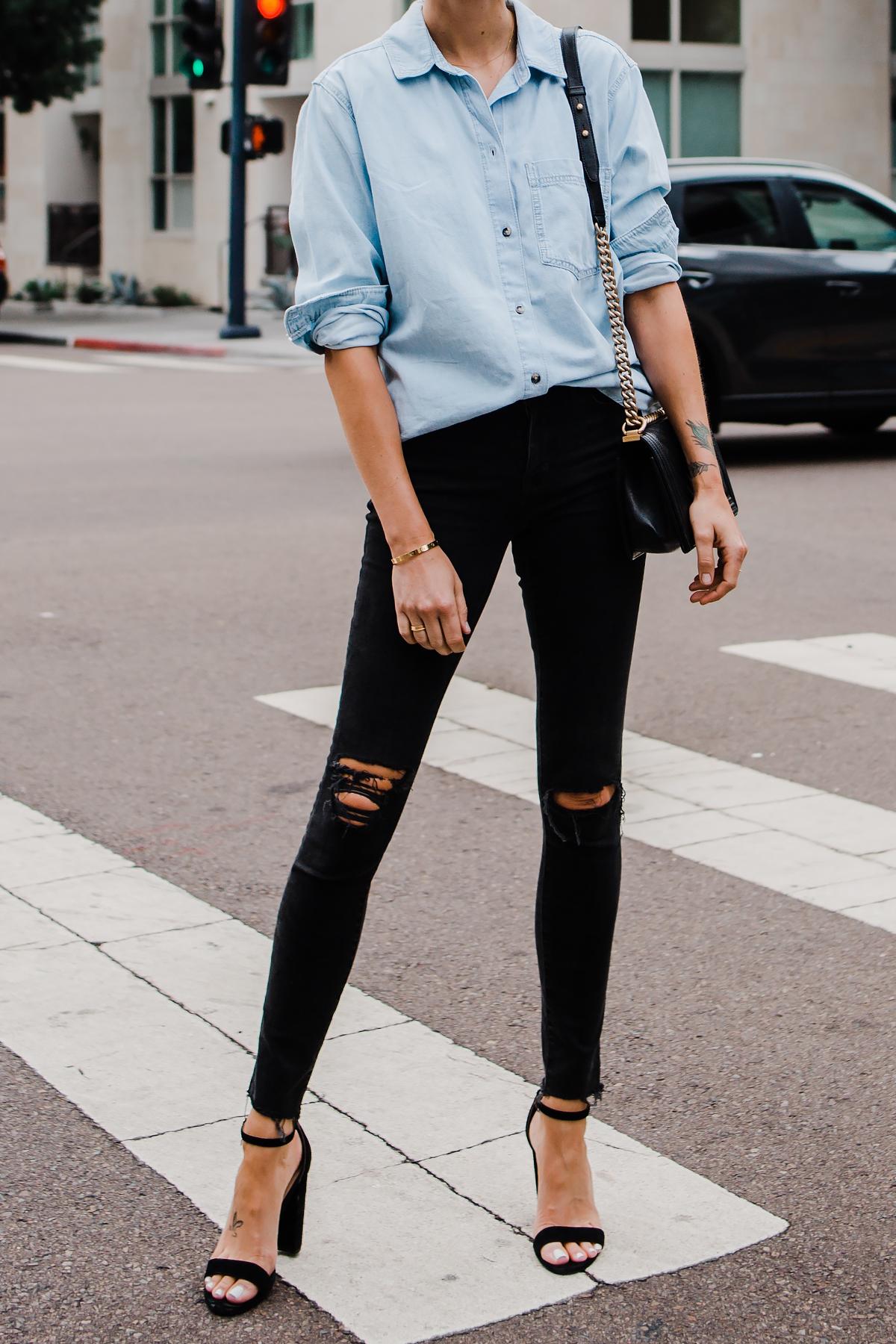Woman Wearing Topshop Oversized Denim Shirt Topshop Black Ripped Skinny Jeans Steve Madden Black Ankle Strap Heeled Sandals Fashion Jackson San Diego Blogger Fashion Blogger Street Style