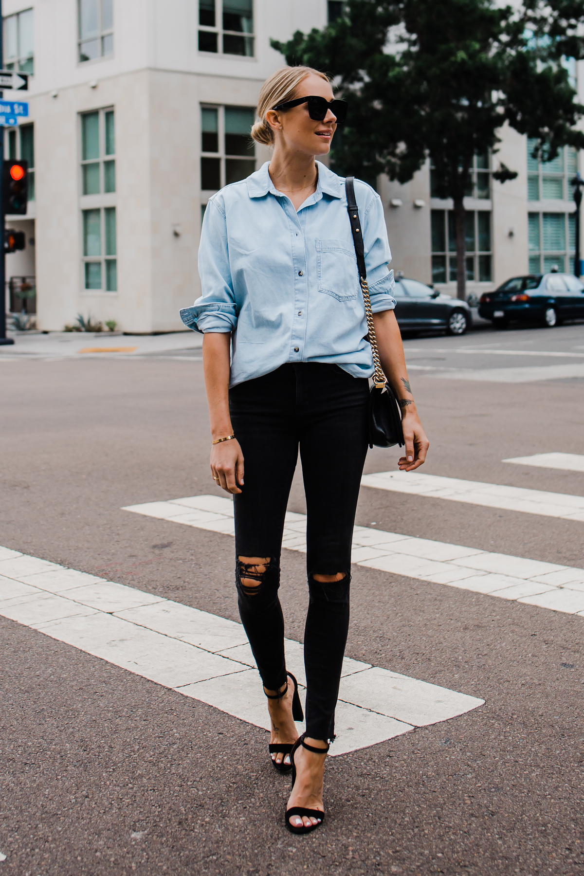 973a1b1a0acc Blonde Woman Wearing Topshop Oversized Denim Shirt Topshop Black Ripped  Skinny Jeans Steve Madden Black Ankle