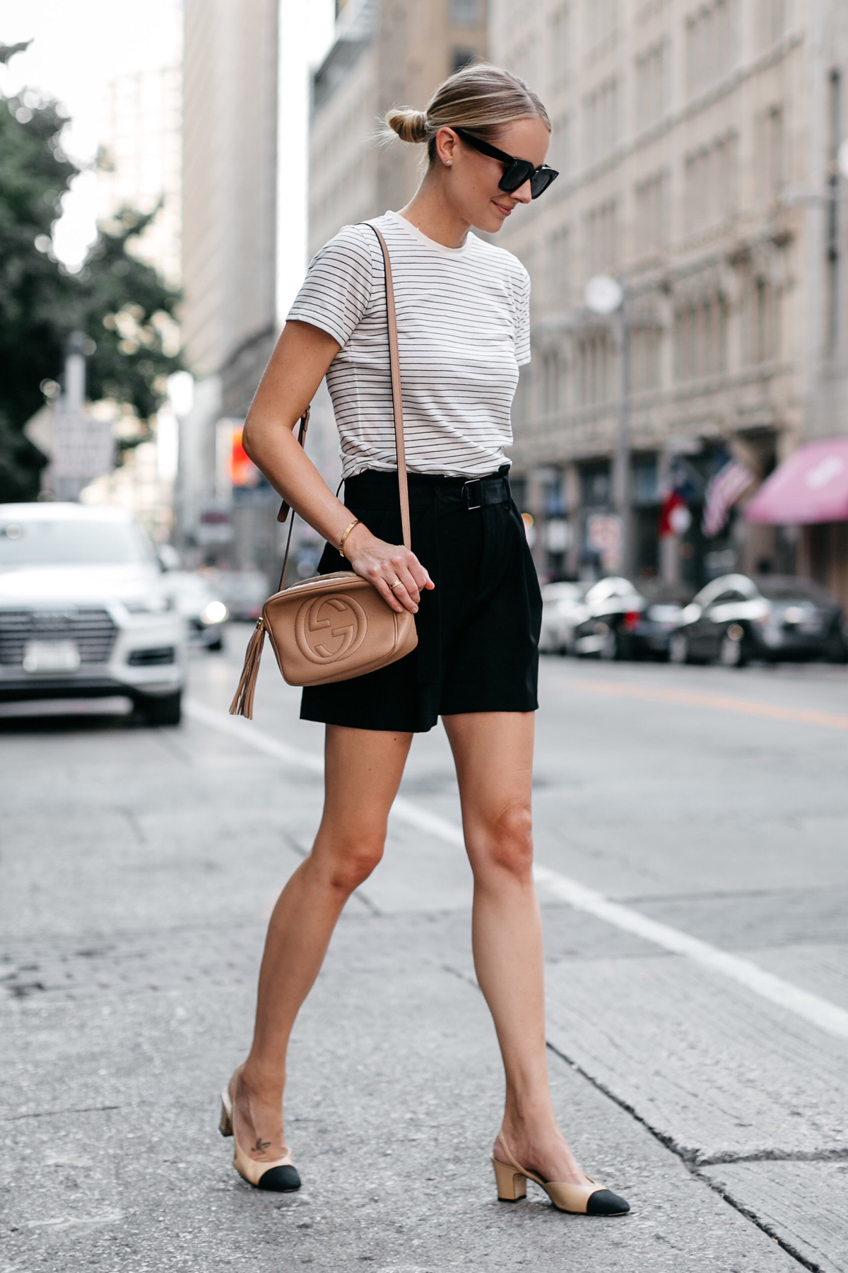 Blonde Woman Wearing Vince Striped Tshirt Vince Black Shorts Chanel Slingbacks Gucci Soho Disco Handbag Fashion Jackson Dallas Blogger Fashion Blogger Street Style