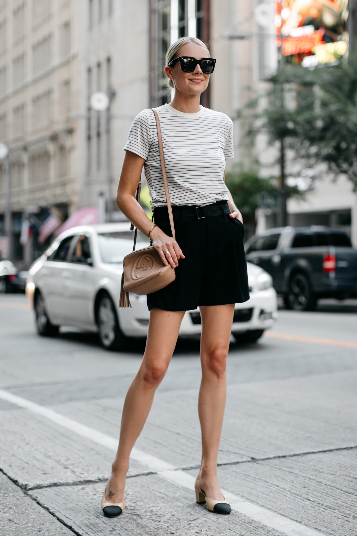Blonde Woman Wearing Vince Striped Tshirt Vince Black Shorts Chanel Slingbacks Gucci Soho Handbag Fashion Jackson Dallas Blogger Fashion Blogger Street Style