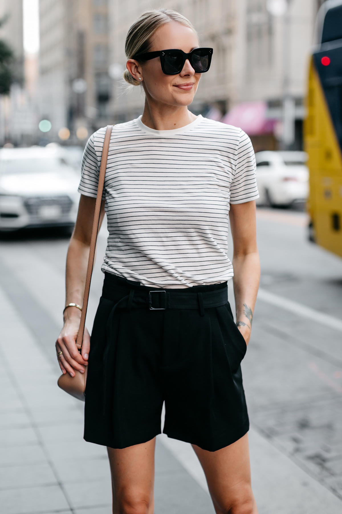Blonde Woman Wearing Vince Striped Tshirt Vince Black Shorts Fashion Jackson Dallas Blogger Fashion Blogger Street Style