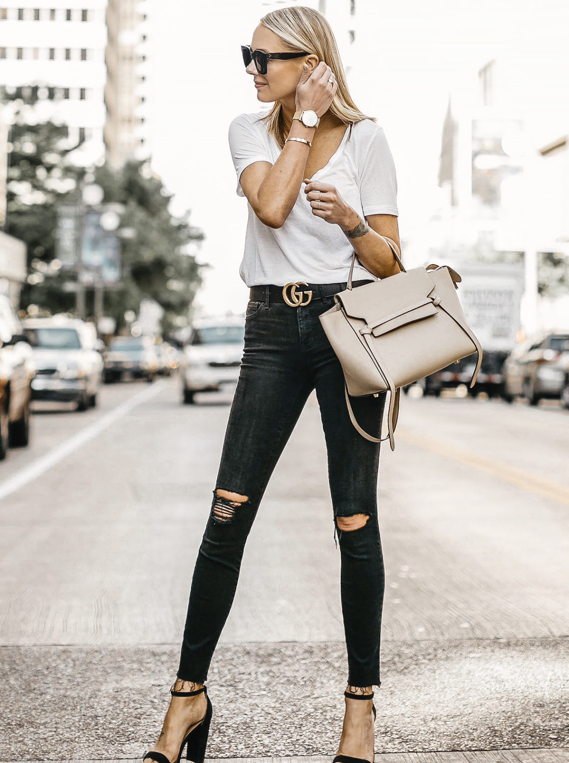 Blonde Woman Wearing White Tshirt Black Ripped Skinny Jeans Gucci Marmont Belt Black Ankle Strap Heeled Sandals Celine Mini Belt Bag Fashion Jackson Dallas Blogger Fashion Blogger Street Style