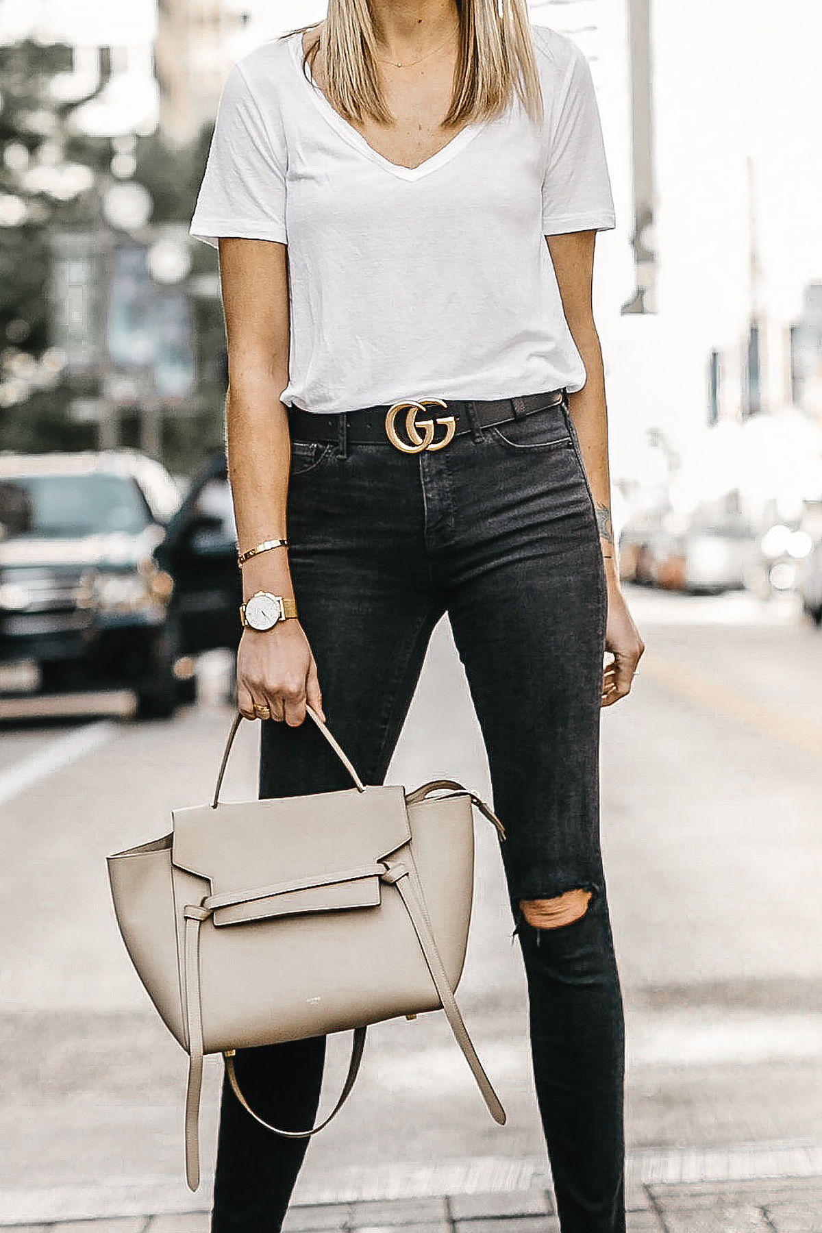 Woman Wearing White Tshirt Black Ripped Skinny Jeans Gucci Marmont Belt Black Ankle Strap Heeled Sandals Celine Mini Belt Bag Fashion Jackson Dallas Blogger Fashion Blogger Street Style