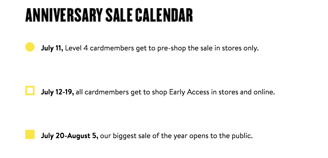 Nordstrom Anniversary Sale 2018 Dates