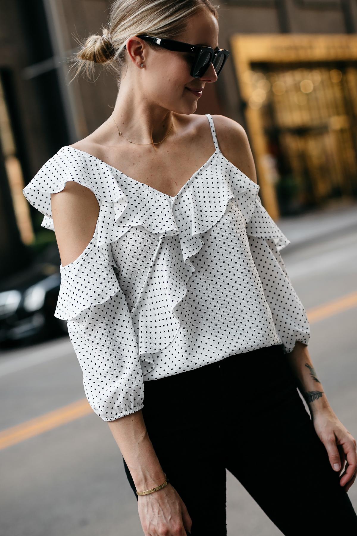 Blonde Woman Wearing Bloomingdales Black Polka Dot White Ruffle Blouse Black Denim Jeans Fashion Jackson Dallas Blogger Fashion Blogger Street Style