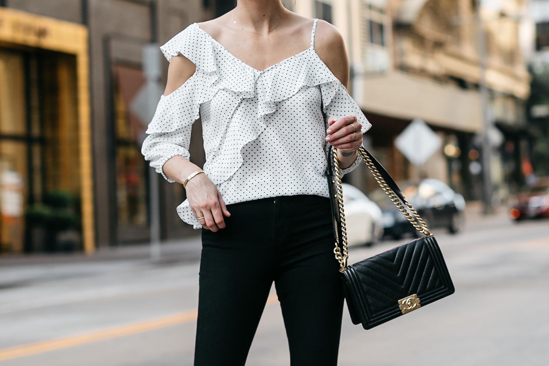 Woman Wearing Bloomingdales Black Polka Dot White Ruffle Blouse Black Denim Jeans Chanel Black Boy Bag Fashion Jackson Dallas Blogger Fashion Blogger Street Style