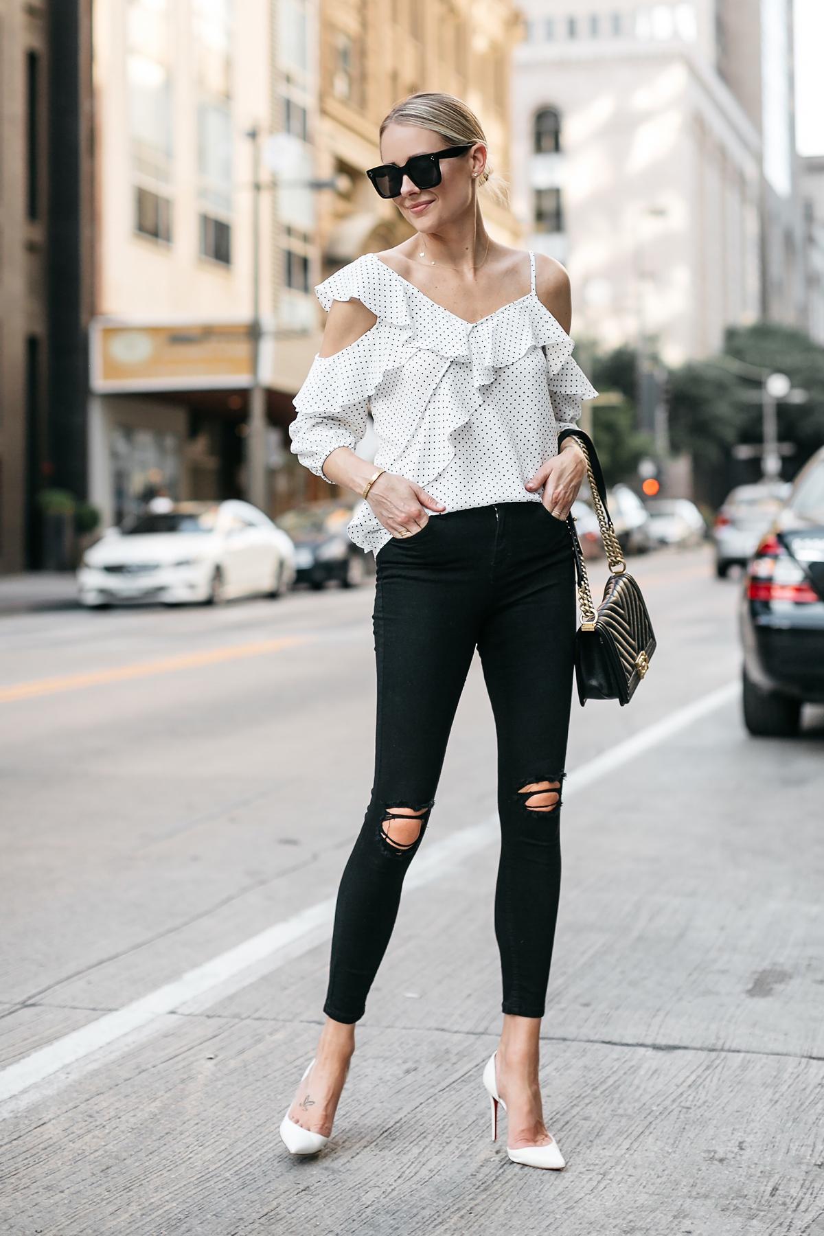 Blonde Woman Wearing Bloomingdales Black Polka Dot White Ruffle Blouse Black Denim Jeans White Pumps Fashion Jackson Dallas Blogger Fashion Blogger Street Style