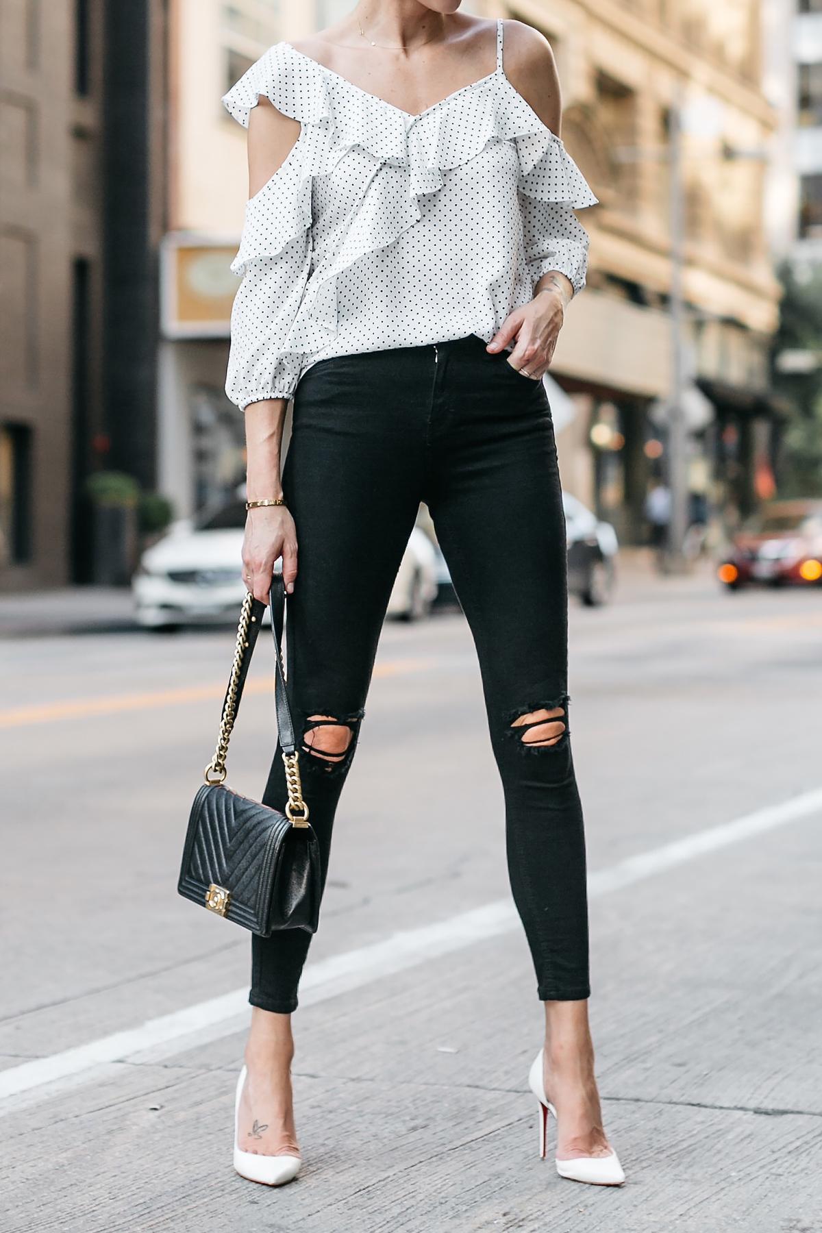 Woman Wearing Bloomingdales Black Polka Dot White Ruffle Blouse Black Denim Jeans White Pumps Chanel Black Boy Bag Fashion Jackson Dallas Blogger Fashion Blogger Street Style