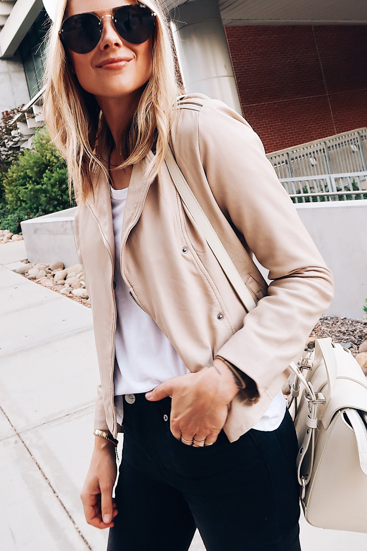 Blonde Woman Wearing Hinge Feminine Leather Jacket Blush White Tshirt Hudson Barbara Black Skinny Jeans Senreve Mini White Handbag Aviator Sunglasses Fashion Jackson San Diego Blogger Fashion Blogger Street Style Nordstrom Anniversary Sale