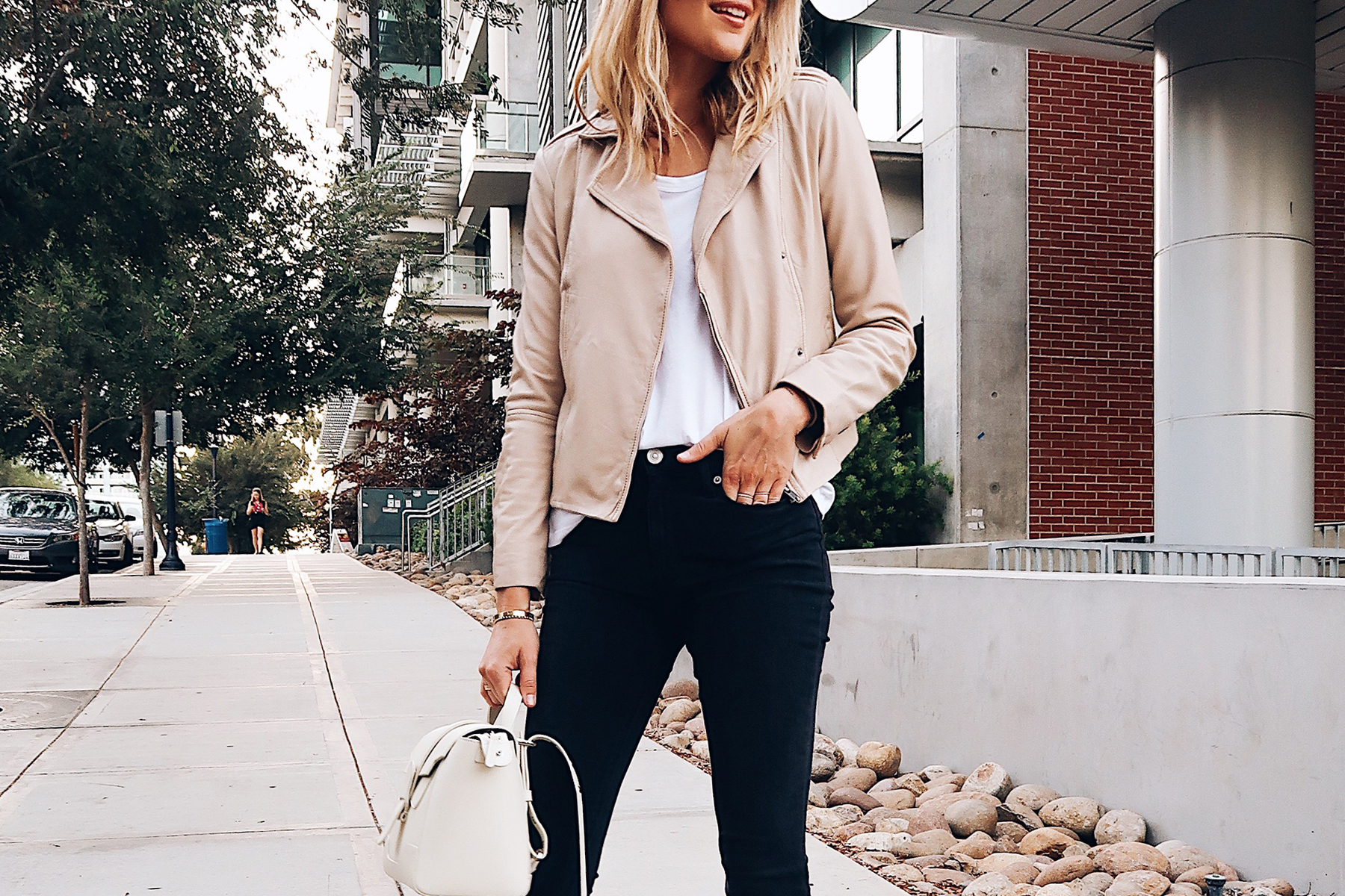 Blonde Woman Wearing Hinge Feminine Leather Jacket Blush White Tshirt Hudson Barbara Black Skinny Jeans Senreve Mini White Handbag Fashion Jackson San Diego Blogger Fashion Blogger Street Style Nordstrom Anniversary Sale