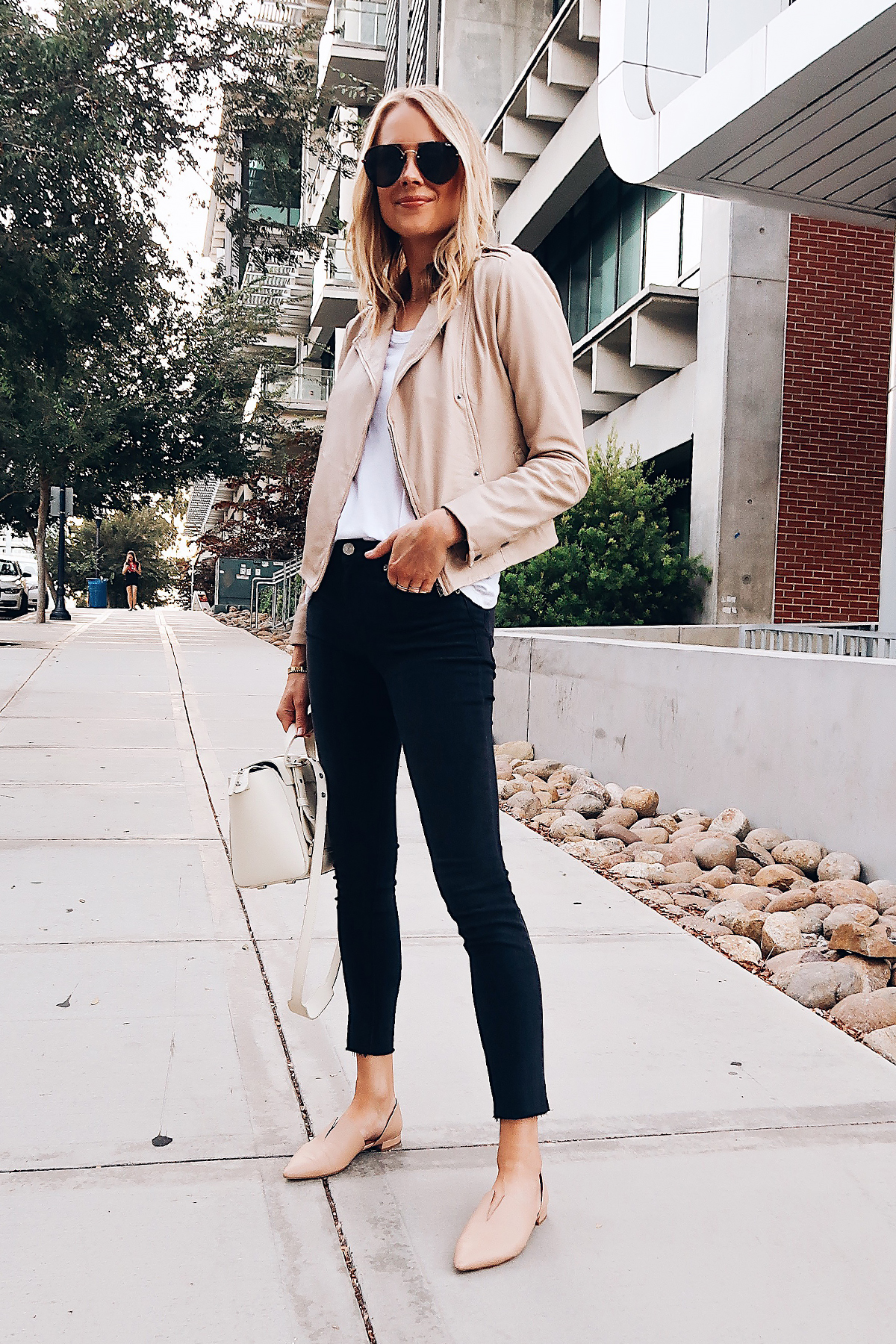 Blonde Woman Wearing Hinge Feminine Leather Jacket Blush White Tshirt Hudson Barbara Black Skinny Jeans Vince Darlington Flats Blush Aviator Sunglasses Senreve Mini White Handbag Fashion Jackson San Diego Blogger Fashion Blogger Street Style Nordstrom Anniversary Sale