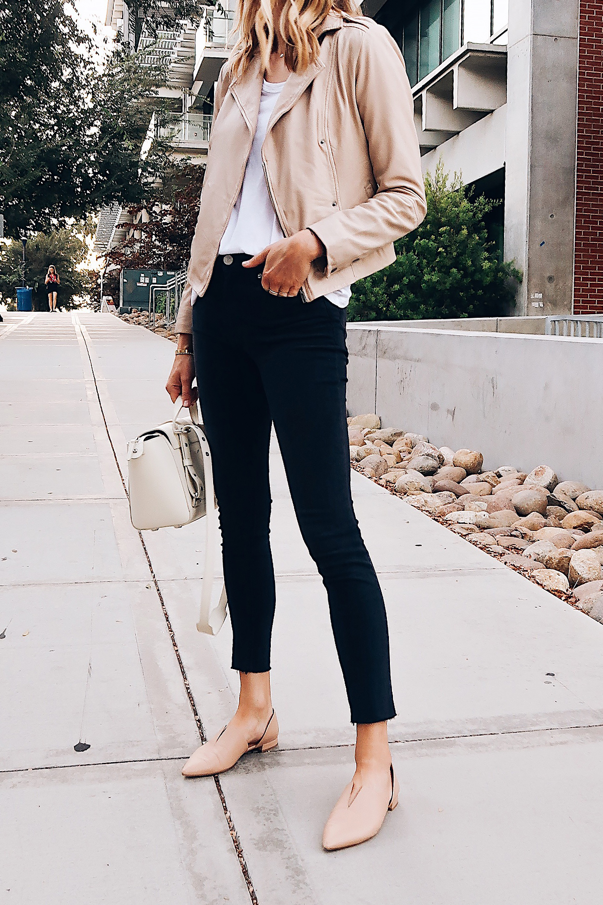 Blonde Woman Wearing Hinge Feminine Leather Jacket Blush White Tshirt Hudson Barbara Black Skinny Jeans Vince Darlington Flats Blush Senreve Mini White Handbag Fashion Jackson San Diego Blogger Fashion Blogger Street Style Nordstrom Anniversary Sale