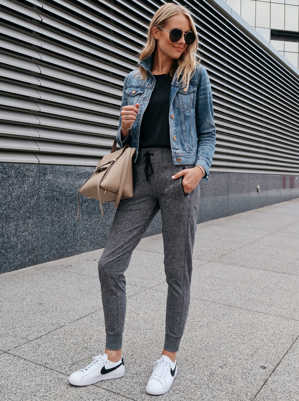 e1988991232f7 Blonde Woman Wearing Jcrew Denim Jacket Black Tank Nordstrom Anniversary  Sale Grey Joggers Nike Blazer Sneakers