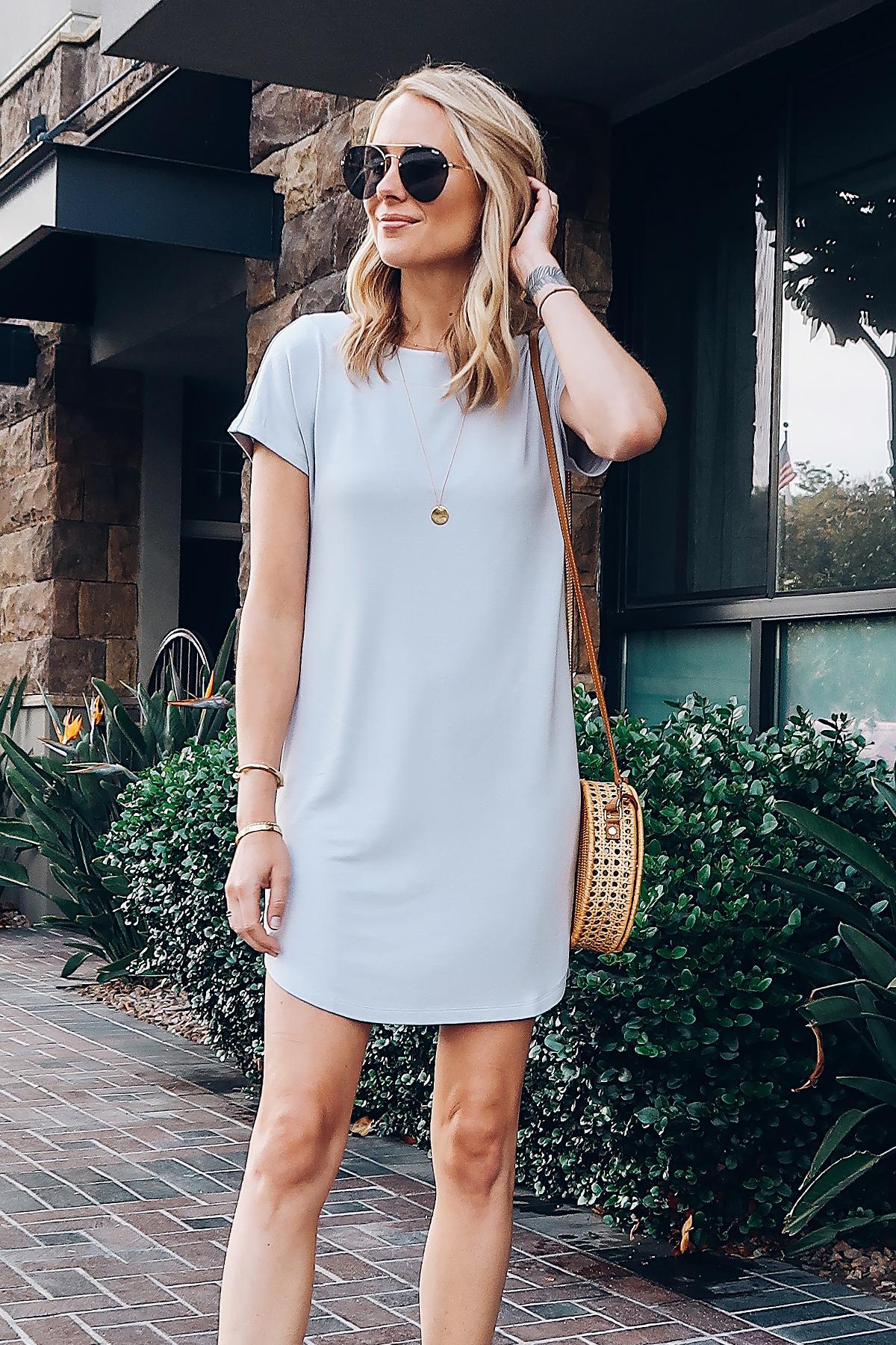 Blonde Woman Wearing Lou & Grey Tshirt Dress Circle Basket Handbag Aviator Sunglasses Fashion Jackson San Diego Blogger Fashion Blogger Street Style