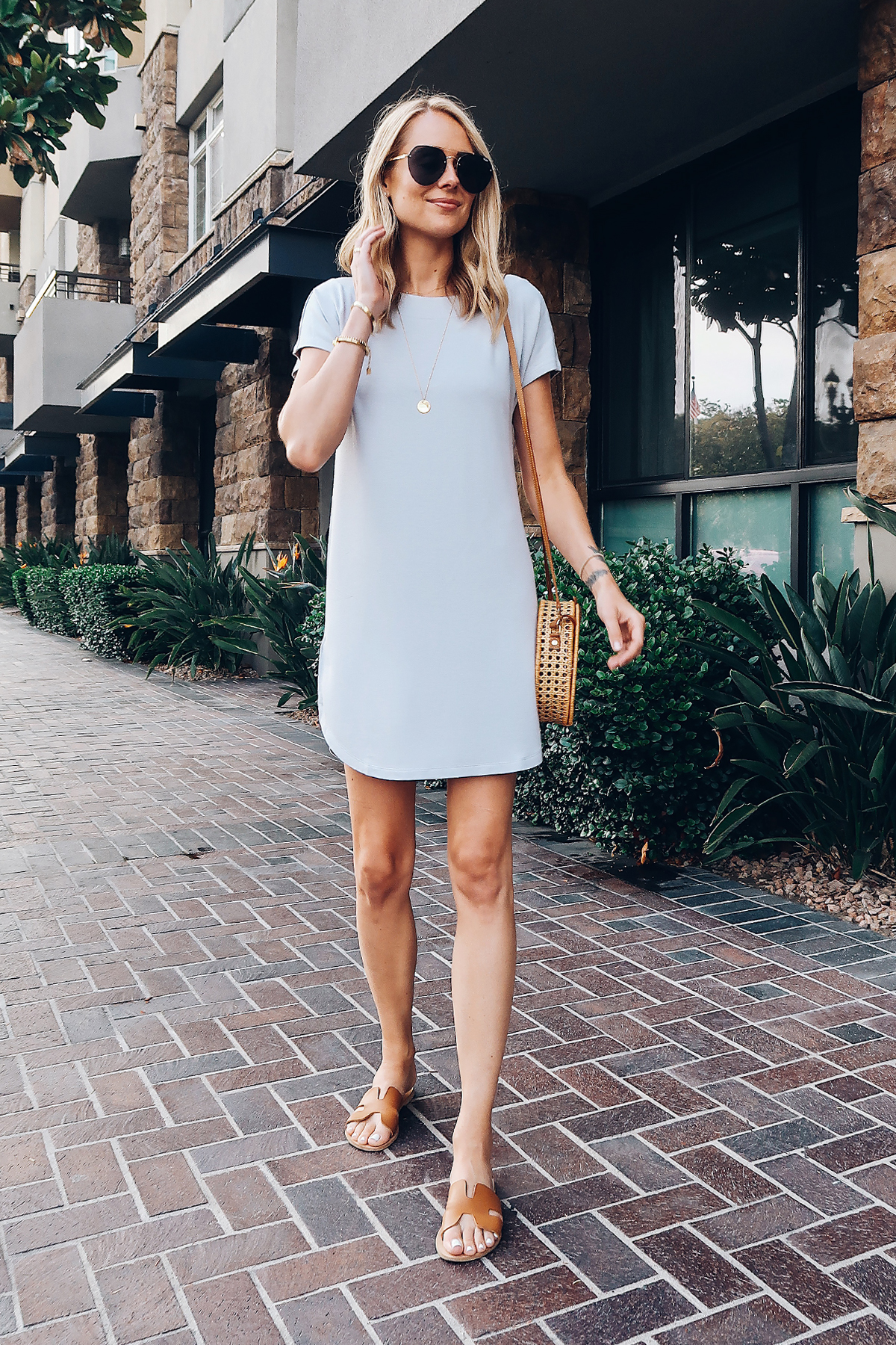 Blonde Woman Wearing Lou & Grey Tshirt Dress Circle Basket Handbag Aviator Sunglasses Steve Madden Tan Greece Sandals Fashion Jackson San Diego Blogger Fashion Blogger Street Style
