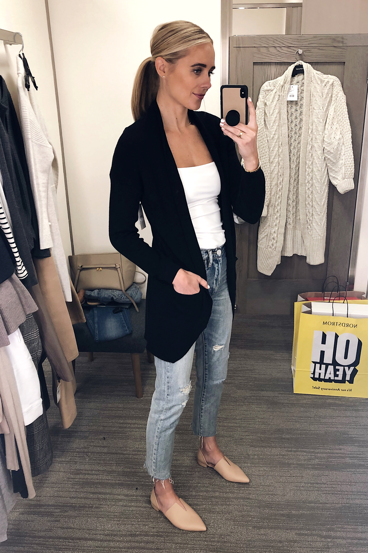 Blonde Woman Wearing Nordstrom Anniversary Sale BP Cocoon Cardigan Black Vince Darlington Flats Fashion Jackson San Diego Blogger Fashion Blogger