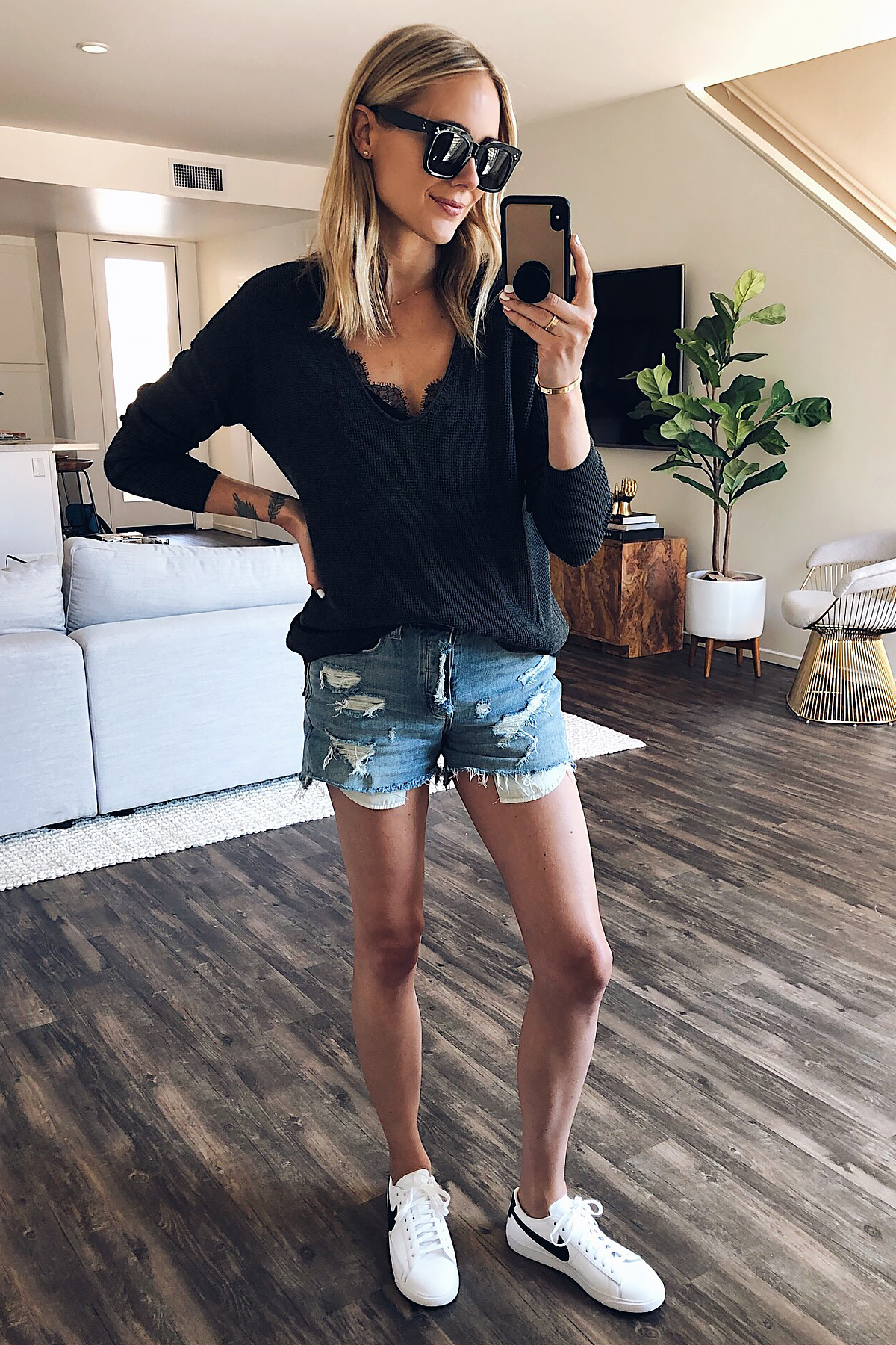 Blonde Woman Wearing Nordstrom Anniversary Sale BP Textured Charcoal Grey Sweater Black Lace Cami Ripped Denim Shorts White Nike Blazer Sneakers Fashion Jackson San Diego Blogger Fashion Blogger Street Style