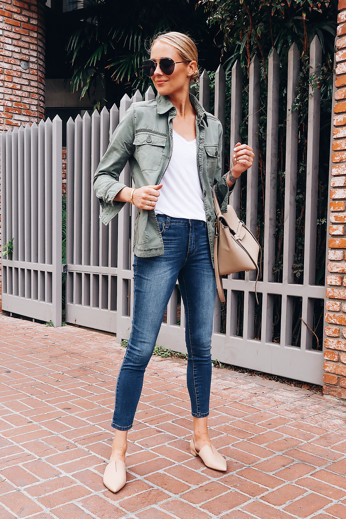 Blonde Woman Wearing Nordstrom Anniversary Sale Calson Green Utility Jacket White Raw Edge Tshirt STS Blue Emma High Waist Ankle Skinny Jeans Vince Tan Flats Celine Mini Belt Bag Quat Aviator Sunglasses