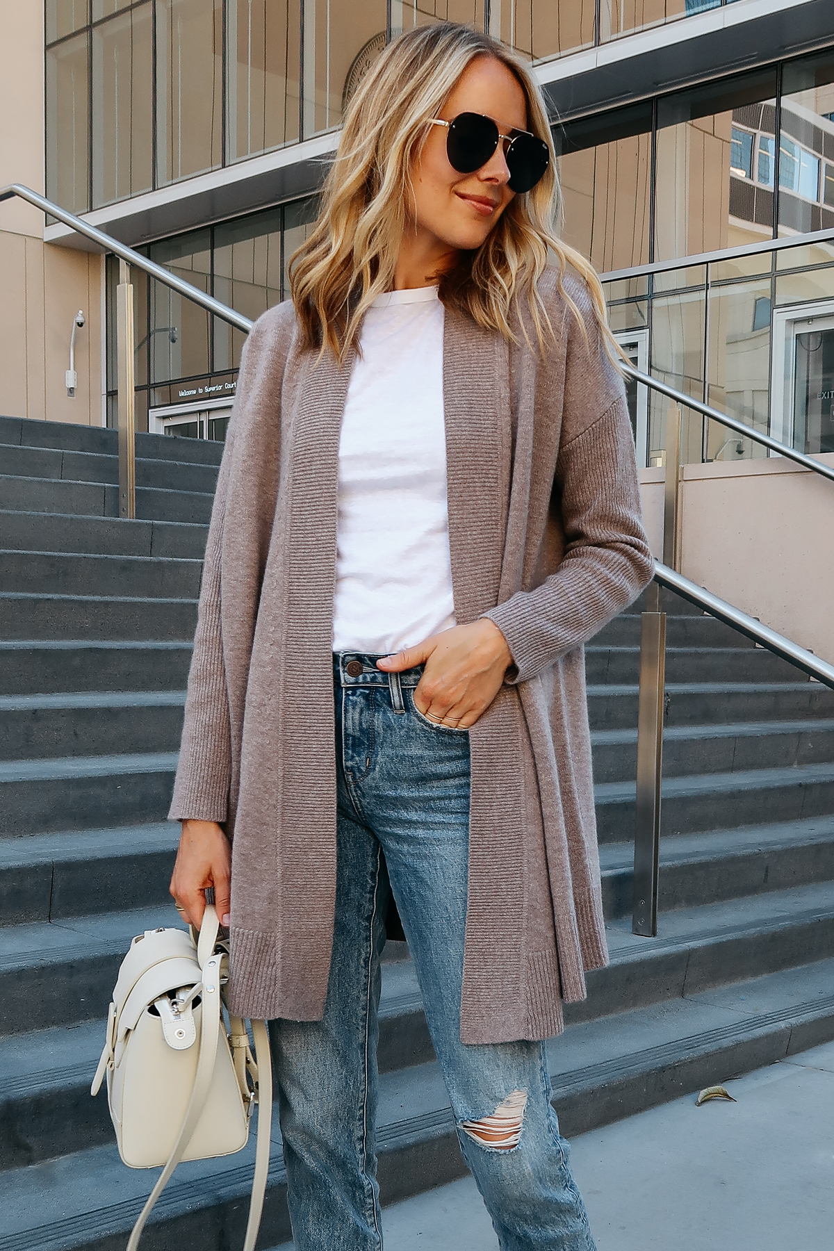 Blonde Woman Wearing Nordstrom Anniversary Sale Halogen Cashmere Cardigan White Tshirt Relaxed Ripped Cropped Jeans Senreve Mini Maestra Satchel White Aviator Sunglasses Fashion Jackson San Diego Blogger Fashion Blogger Street Style