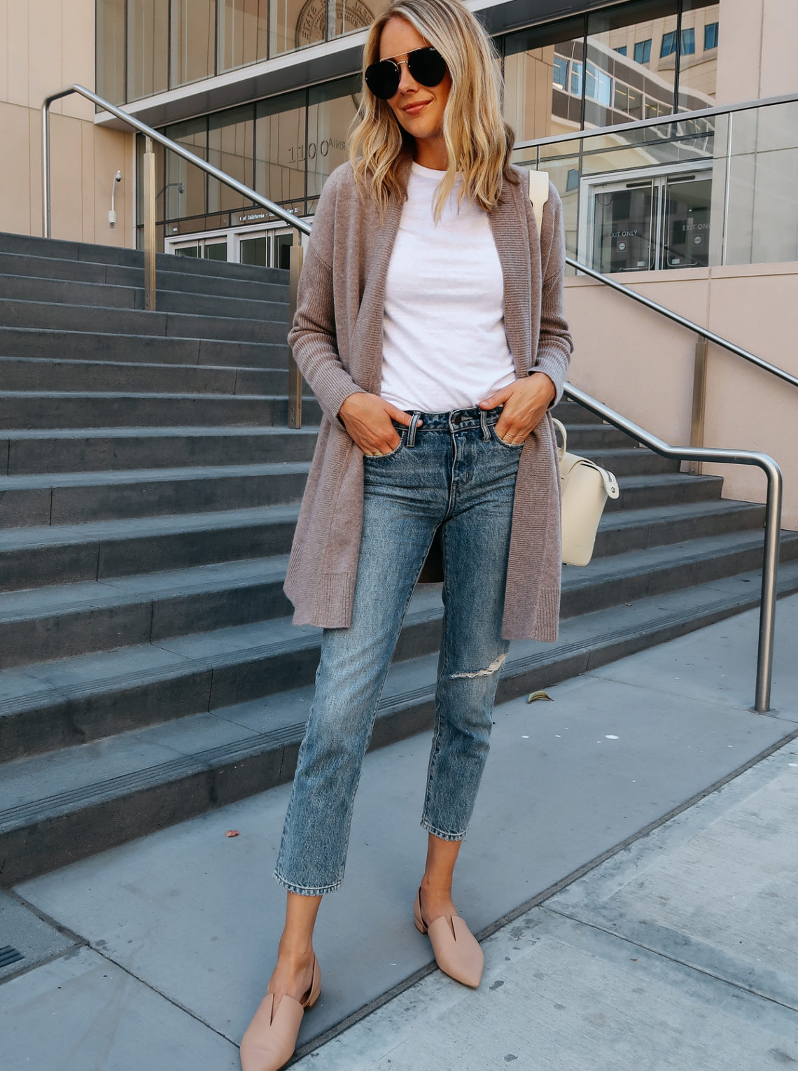 Blonde Woman Wearing Nordstrom Anniversary Sale Halogen Cashmere Cardigan White Tshirt Relaxed Ripped Cropped Jeans Vince Darlington Nude Flats Aviator Sunglasses Fashion Jackson San Diego Blogger Fashion Blogger Street Style