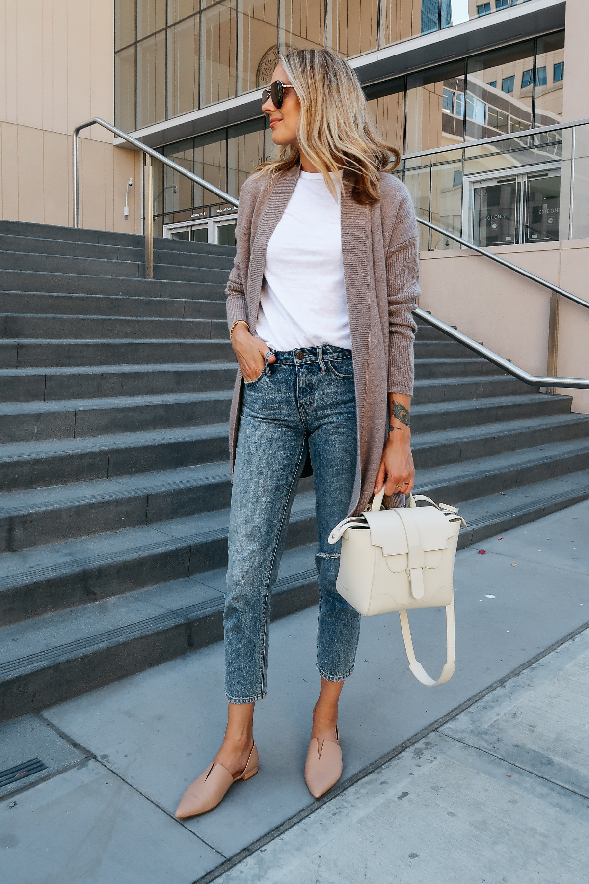 Blonde Woman Wearing Nordstrom Anniversary Sale Halogen Cashmere Cardigan White Tshirt Relaxed Ripped Cropped Jeans Vince Darlington Nude Flats Senreve Mini Maestra Satchel White Aviator Sunglasses Fashion Jackson San Diego Blogger Fashion Blogger Street Style