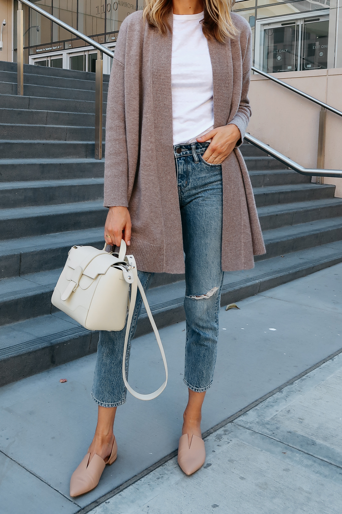 Woman Wearing Nordstrom Anniversary Sale Halogen Cashmere Cardigan White Tshirt Relaxed Ripped Cropped Jeans Vince Darlington Nude Flats Senreve Mini Maestra Satchel White Fashion Jackson San Diego Blogger Fashion Blogger Street Style