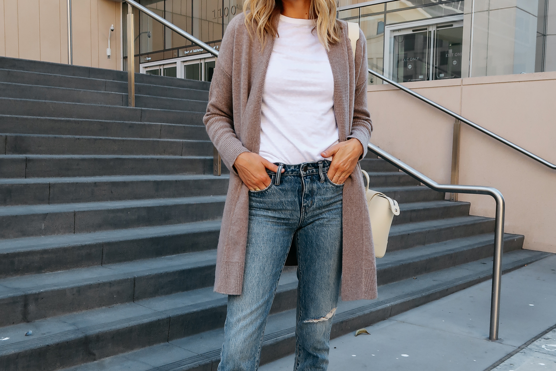 Woman Wearing Nordstrom Anniversary Sale Halogen Cashmere Cardigan White Tshirt Relaxed Ripped Cropped Jeans Fashion Jackson San Diego Blogger Fashion Blogger Street Style