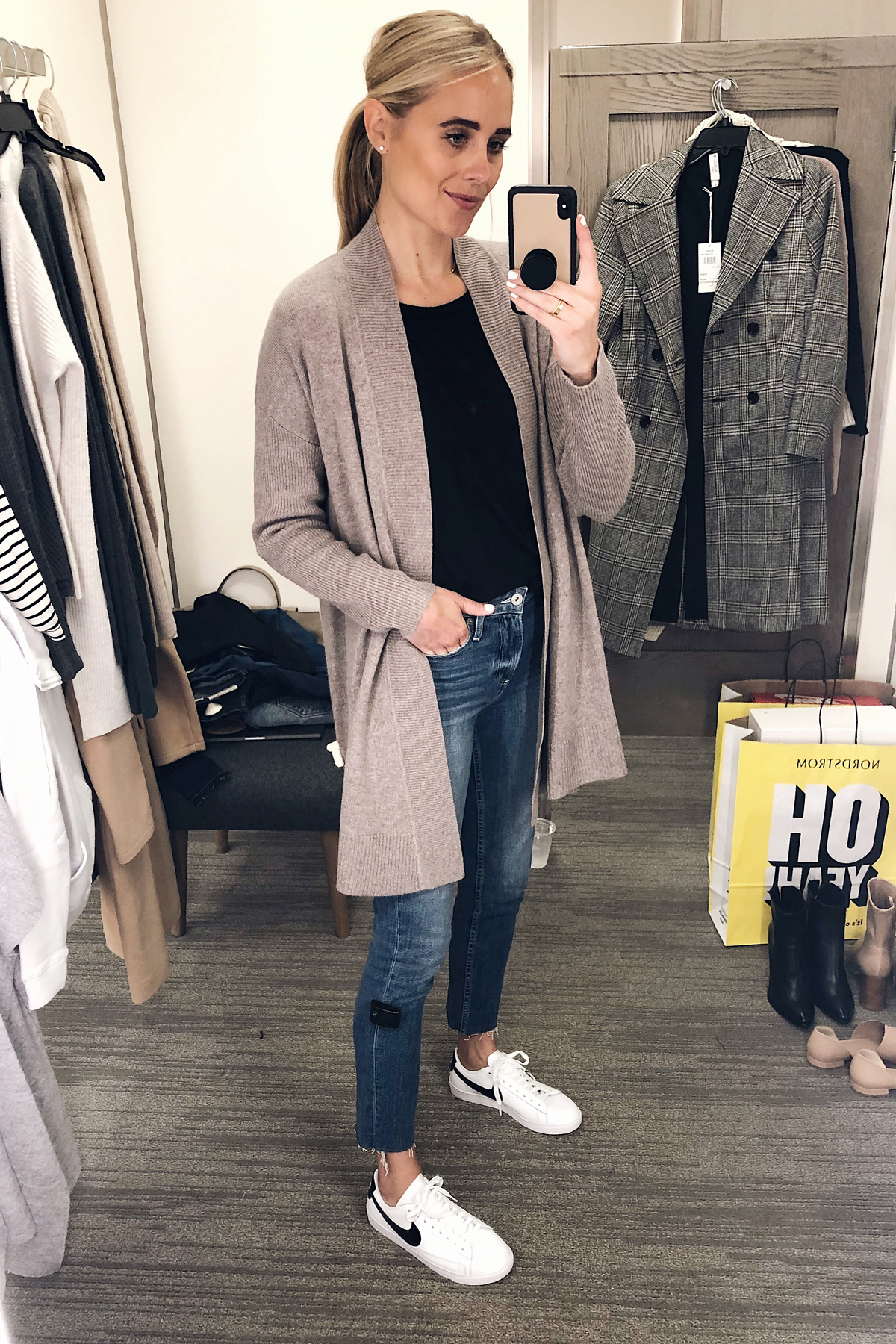 Blonde Woman Wearing Nordstrom Anniversary Sale Halogen Open Front Drape Cardigan Paige Raw Hem Jeans Nike Blazer Sneakers Fashion Jackson San Diego Blogger Fashion Blogger