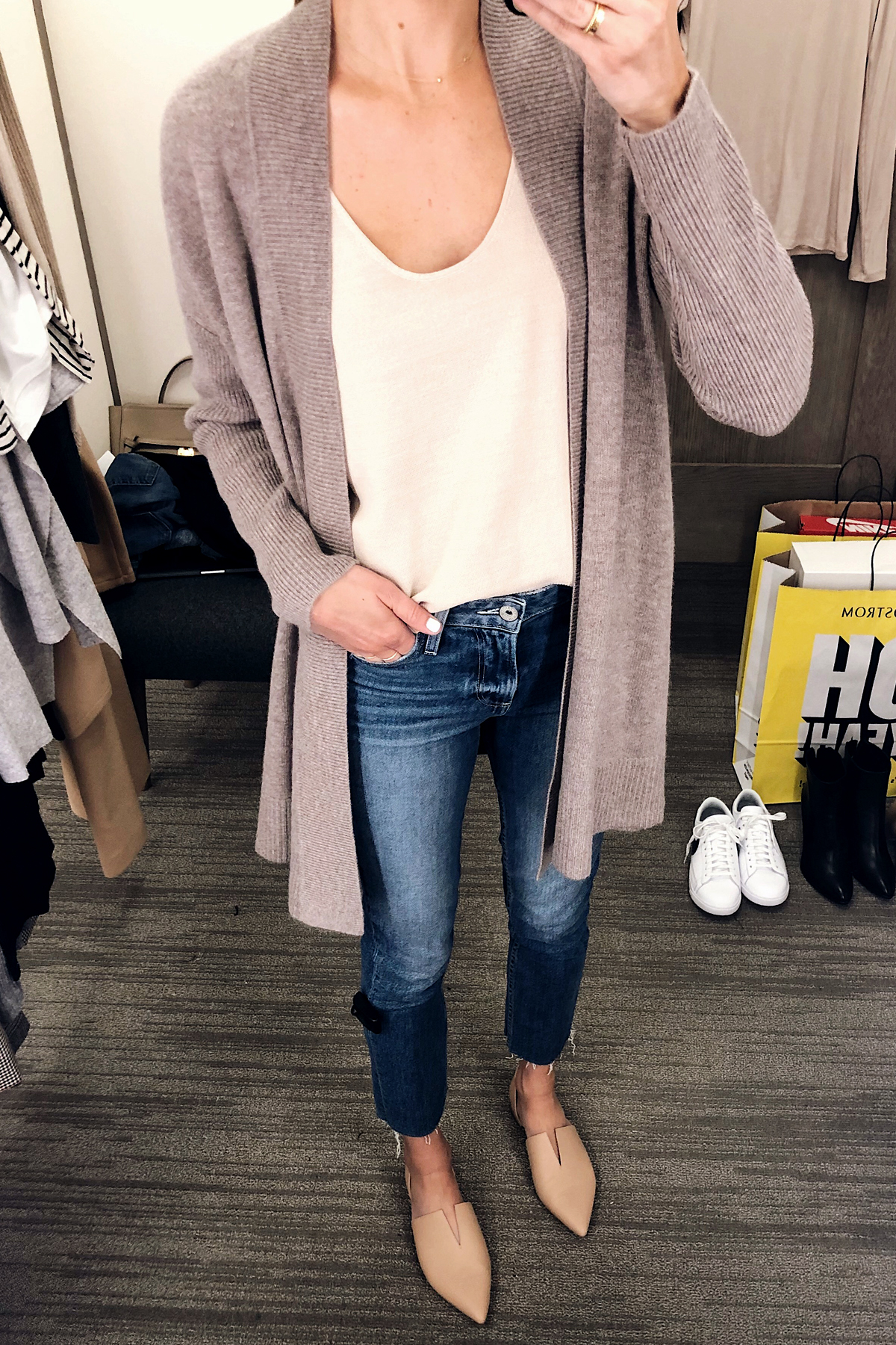 Woman Wearing Nordstrom Anniversary Sale Halogen Open Front Drape Cardigan Paige Raw Hem Jeans Vince Darlington Flats Fashion Jackson San Diego Blogger Fashion Blogger
