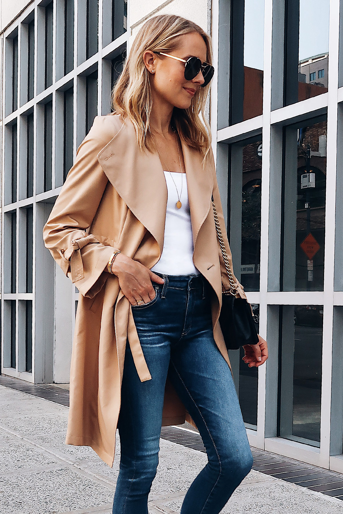 Blonde Woman Wearing Nordstrom Anniversary Sale Halogen Trench Coat White Bodysuit AG Denim Skinny Jeans Aviator Sunglasses Fashion Jackson San Diego Blogger Fashion Blogger Street Style