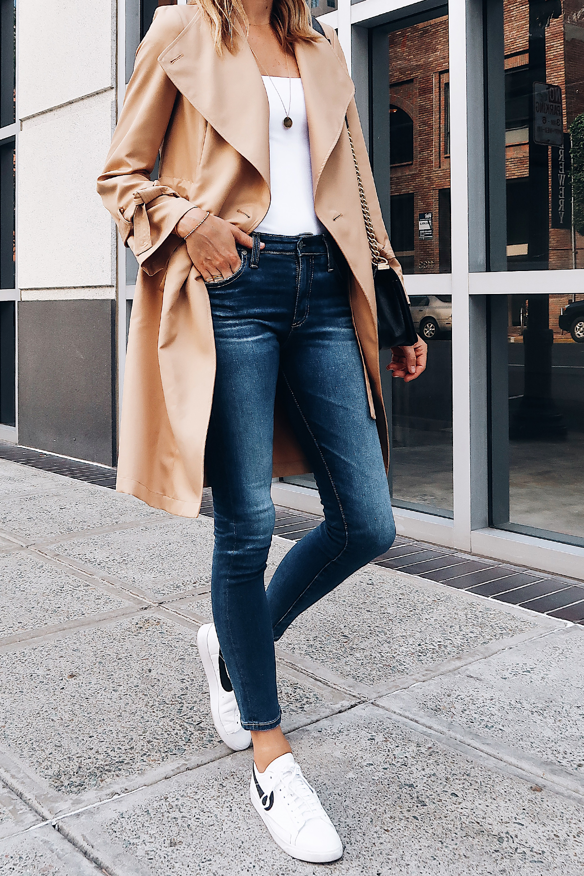 Woman Wearing Nordstrom Anniversary Sale Halogen Trench Coat White Bodysuit AG Farrah Ankle Skinny Jeans Nike Blazer White Sneakers Fashion Jackson San Diego Blogger Fashion Blogger Street Style