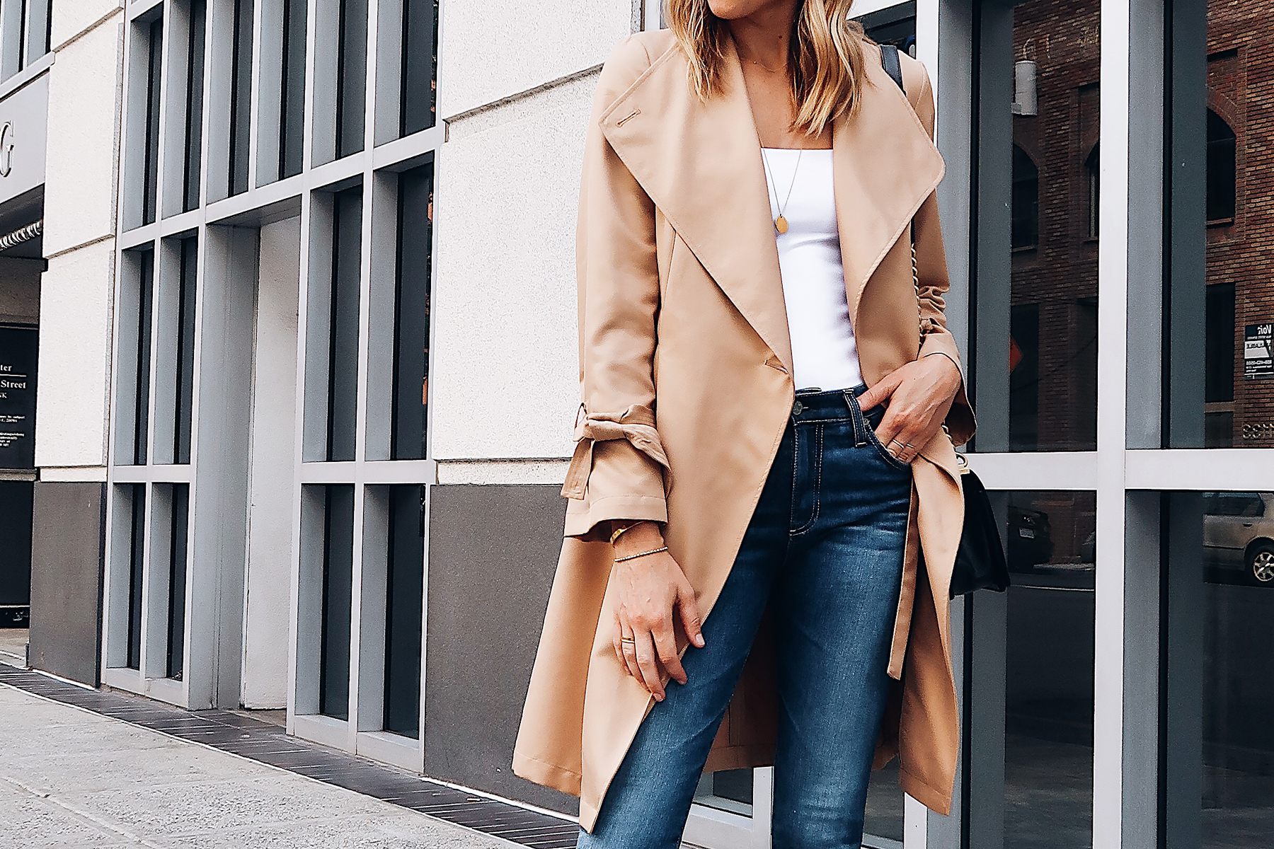 Blonde Woman Wearing Nordstrom Anniversary Sale Halogen Trench Coat White Bodysuit Denim Skinny Jeans Fashion Jackson San Diego Blogger Fashion Blogger Street Style