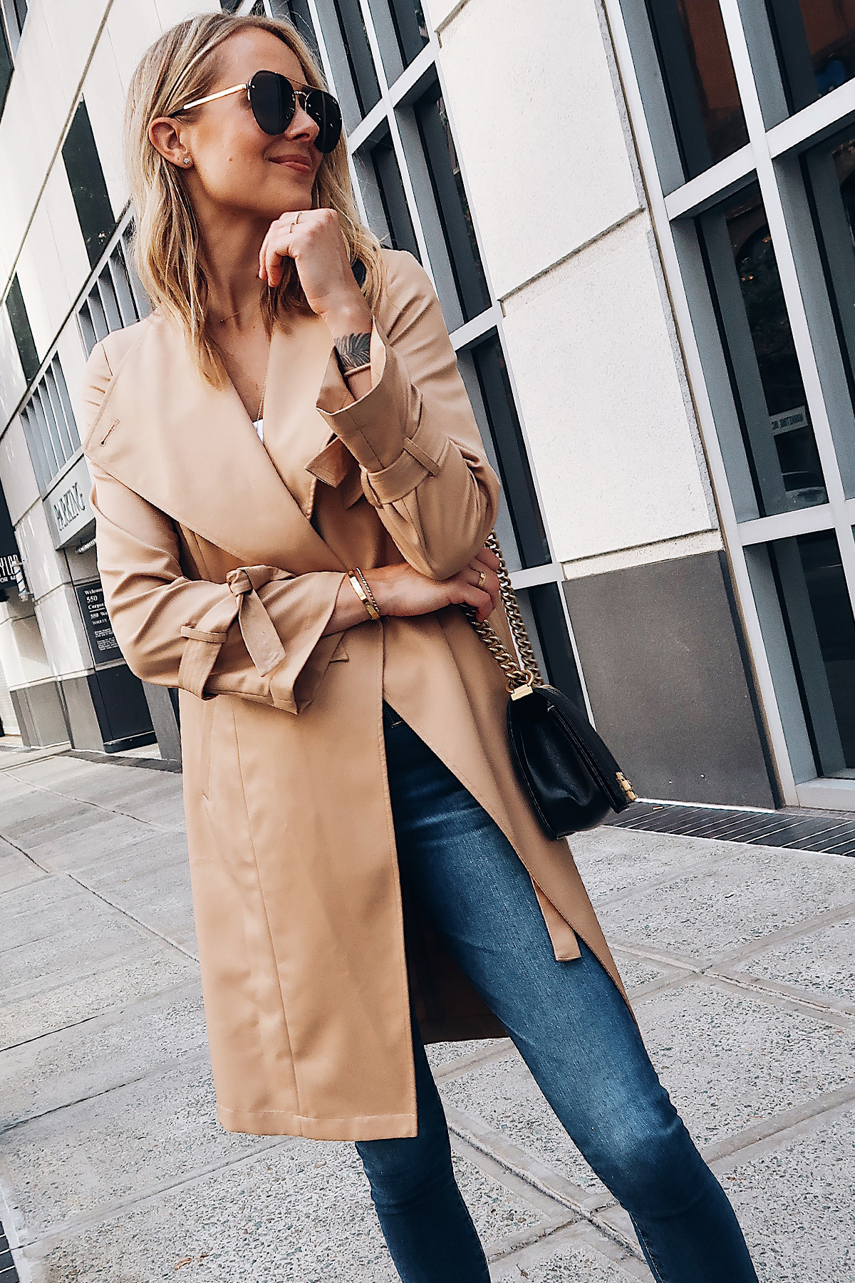 Blonde Woman Wearing Nordstrom Anniversary Sale Halogen Trench Coat White Bodysuit Denim Skinny Jeans Aviator Sunglasses Fashion Jackson San Diego Blogger Fashion Blogger Street Style