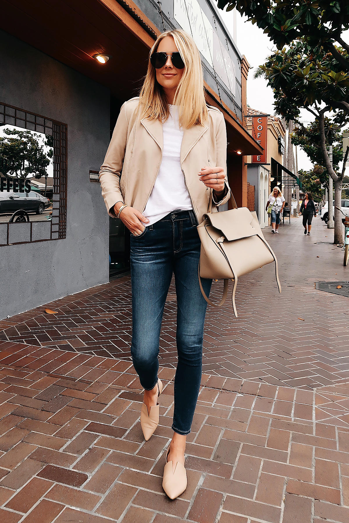 Blonde Woman Wearing Nordstrom Anniversary Sale Hinge Blush Leather Jacket Topshop White Tshirt AG Farrah Ankle Skinny Jeans Vince Tan Flats Celine Mini Belt Bag Quat Aviator Sunglasses Fashion Jackson San Diego Blogger Fashion Blogger Street Style