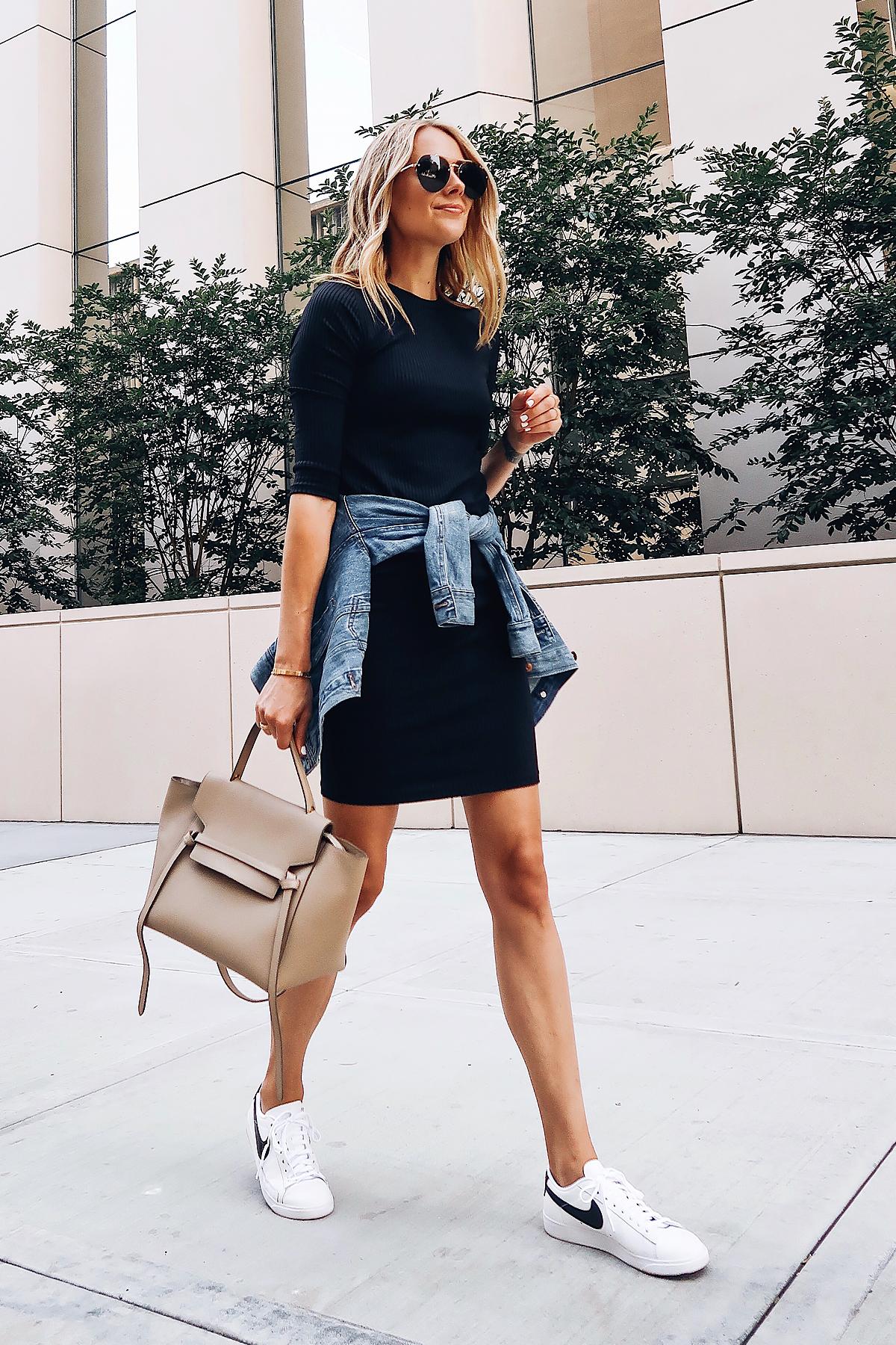 Blonde Woman Wearing Nordstrom Anniversary Sale Lush Black Dress. Denim Jacket White Nike Blazer Sneakers Celine Belt Bag Celine Aviator Sunglasses Fashion Jackson San Diego Blogger Fashion Blogger Street Style