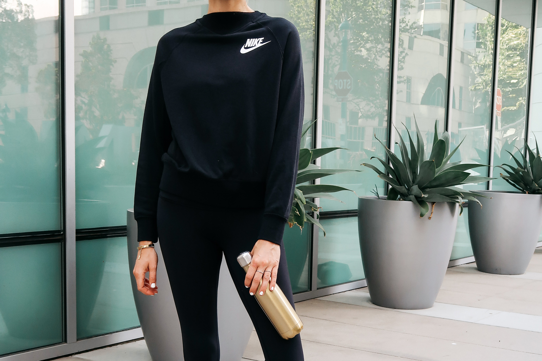 Woman Wearing Nordstrom Anniversary Sale Nike Sweatshirt Gold Swell Bottle Fashion Jackson San Diego Blogger Fashion Blogger Street Style