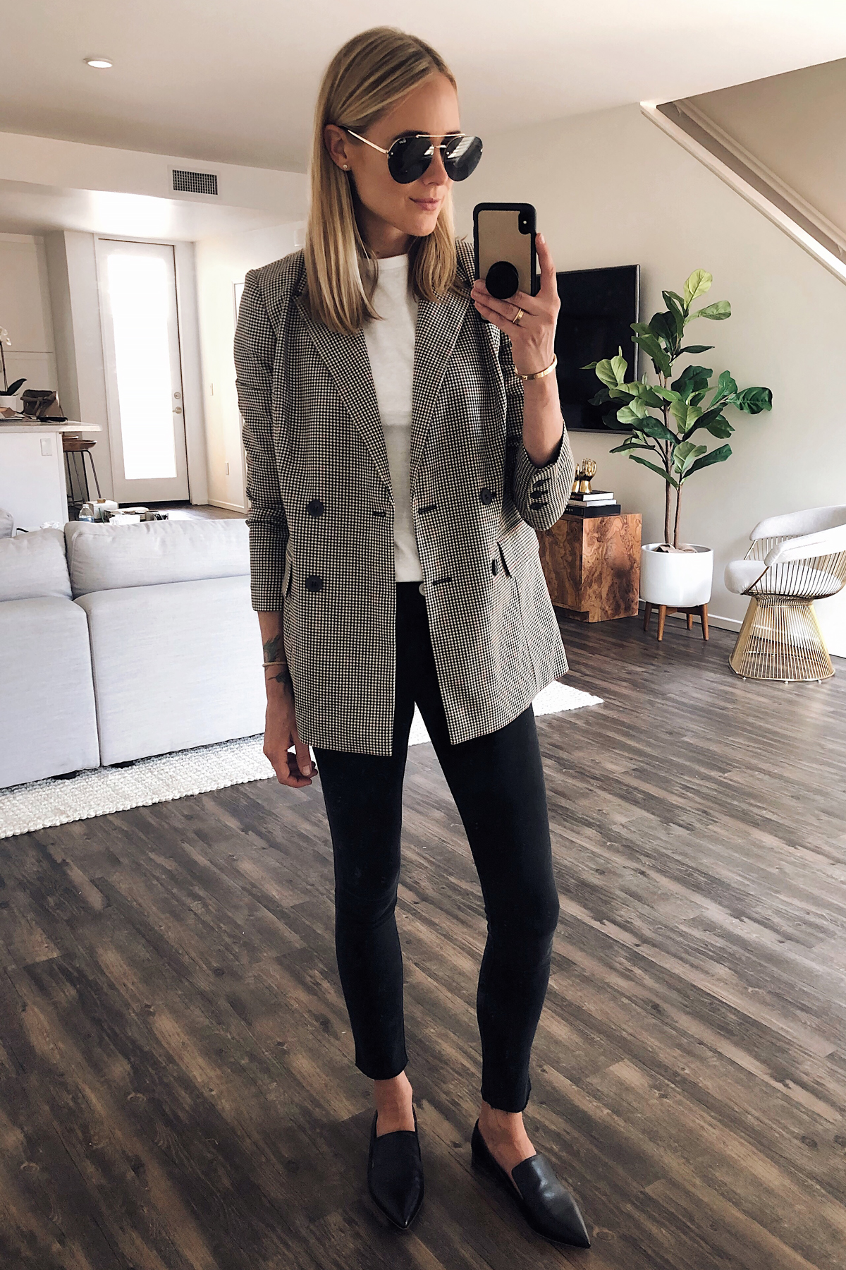Blonde Woman Wearing Nordstrom Anniversary Sale Oversized Plaid Blazer