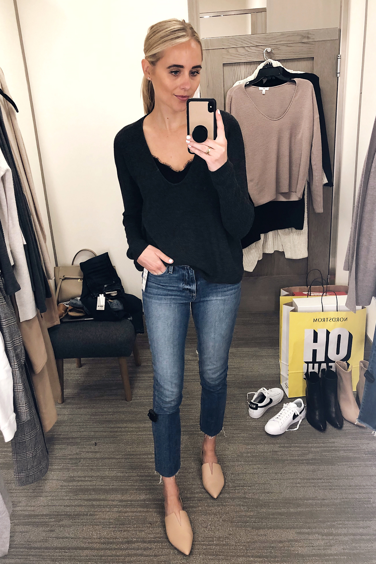 Blonde Woman Wearing Nordstrom Anniversary Sale Textured Stitch V-neck Pullover BP Nordstrom Black Lace Cami Paige Raw Hem Jeans Vince Darlington Flats Fashion Jackson San Diego Blogger Fashion Blogger