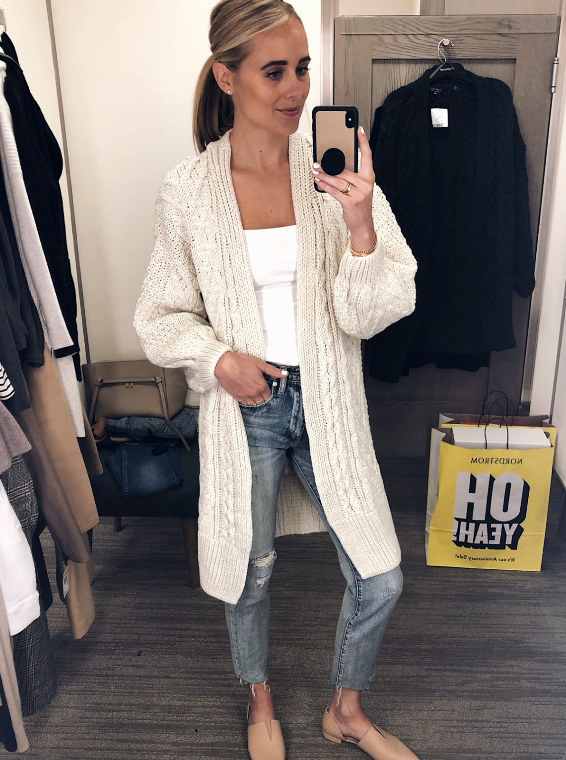 Blonde Woman Wearing Nordstrom Anniversary Sale Topshop Long Open Front Cable Cardigan Beige Vince Darlington Flats Fashion Jackson San Diego Blogger Fashion Blogger