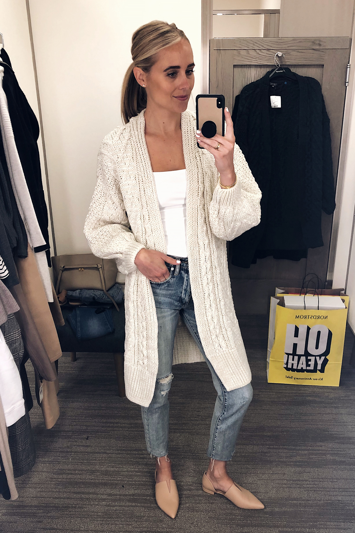 8d15ad263e68ed Blonde Woman Wearing Nordstrom Anniversary Sale Topshop Long Open Front  Cable Cardigan Beige Vince Darlington Flats