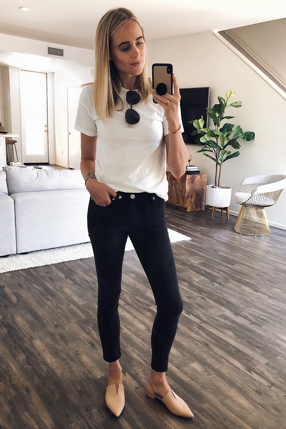Blonde Woman Wearing Nordstrom Anniversary Sale Topshop White Tshirt Hudson Barbara High Waist Black Skinny Jeans Vince Nude Flats Quay Aviator Sunglasses Fashion Jackson San Diego Blogger Fashion Blogger Street Style