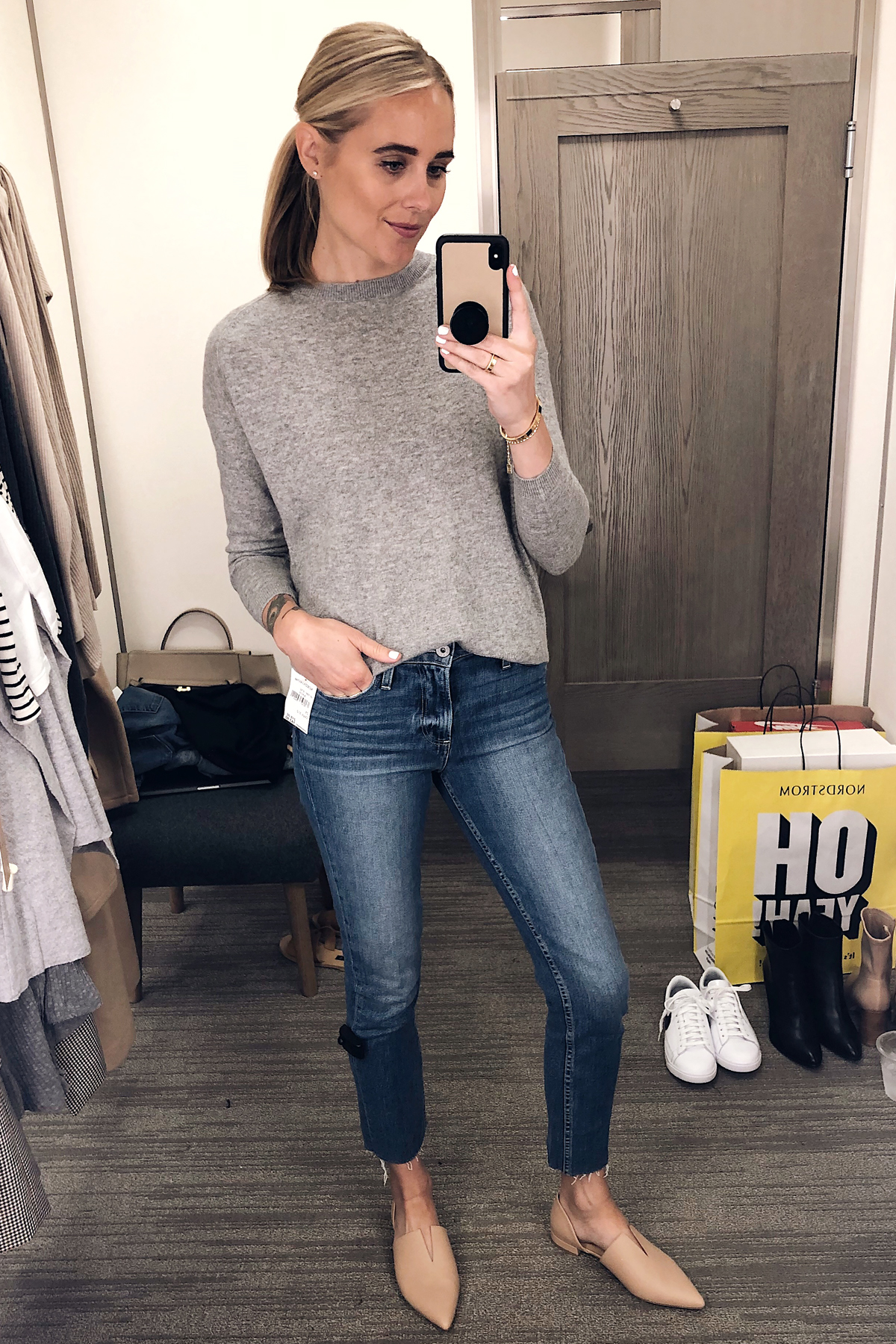 Blonde Woman Wearing Nordstrom Anniversary Sale Vince Cashmere Boxy Sweater Paige Raw Hem Jeans Vince Darlington Flats Fashion Jackson San Diego Blogger Fashion Blogger