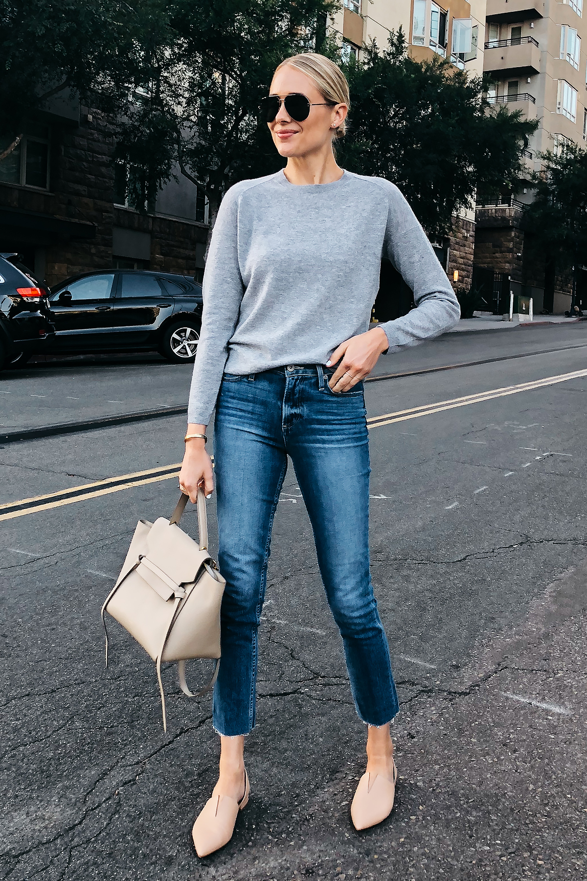 Blonde Woman Wearing Nordstrom Anniversary Sale Vince Grey Sweater Paige Ankle Jeans Vince Nude Flats Celine Belt Bag Celine Aviator Sunglasses Fashion Jackson San Diego Blogger Fashion Blogger Street Style