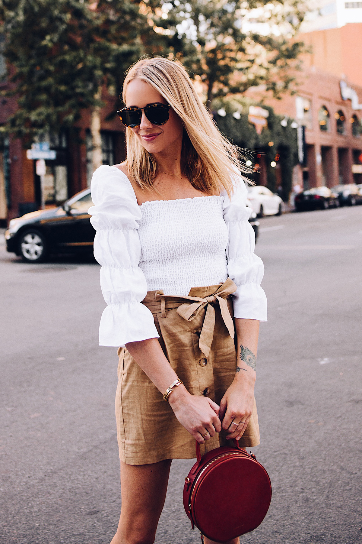 Blonde Woman Wearing Reformation White Smocked Blouse Topshop Khaki Button Front Skirt Karen Walker Harvest Sunglasses Mansur Gavriel Tan Circle Handbag Fashion Jackson San Diego Blogger Fashion Blogger Street Style