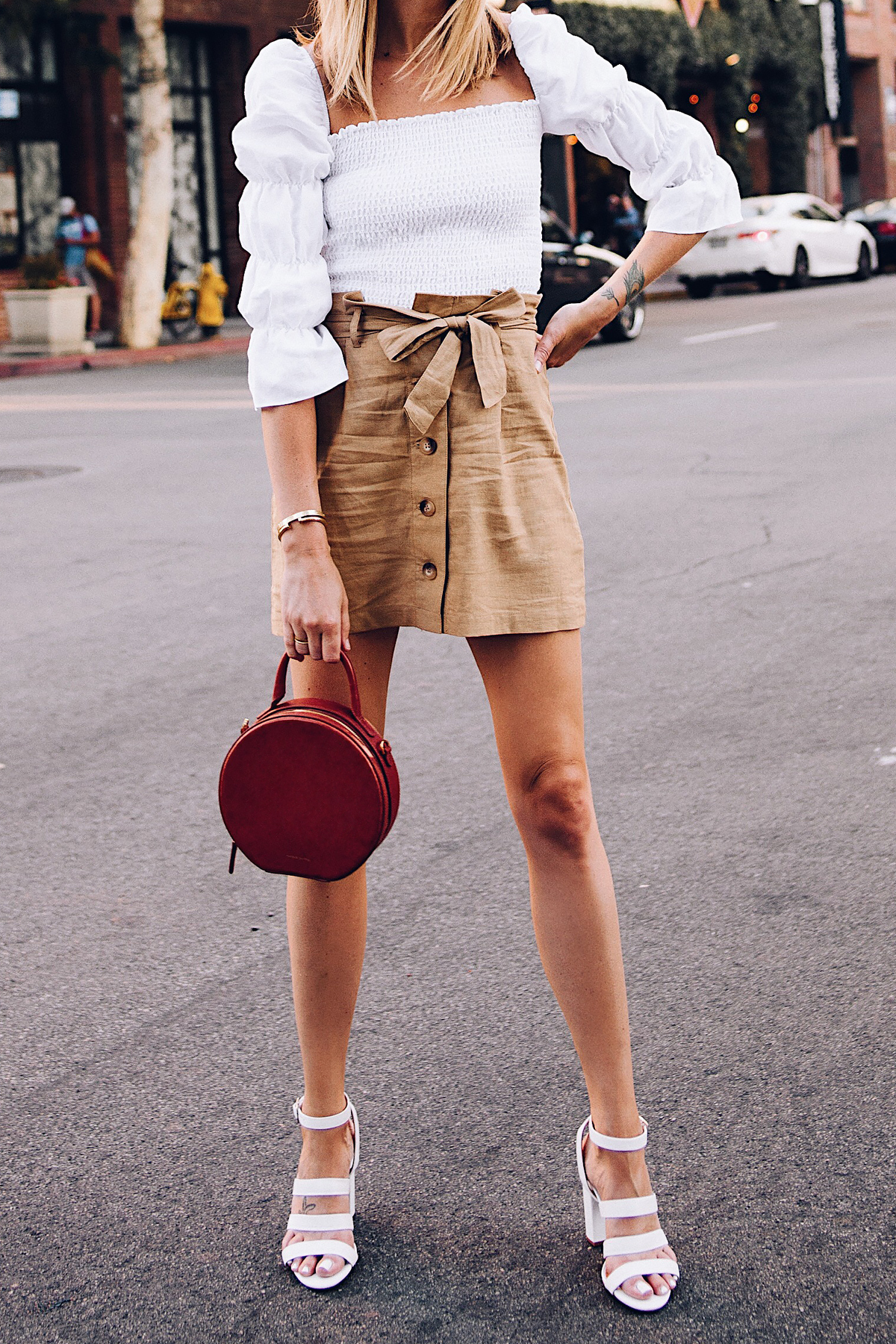 Woman Wearing Reformation White Smocked Blouse Topshop Khaki Button Front Skirt White Triple Strap Heeled Sandals Mansur Gavriel Tan Circle Handbag Fashion Jackson San Diego Blogger Fashion Blogger Street Style